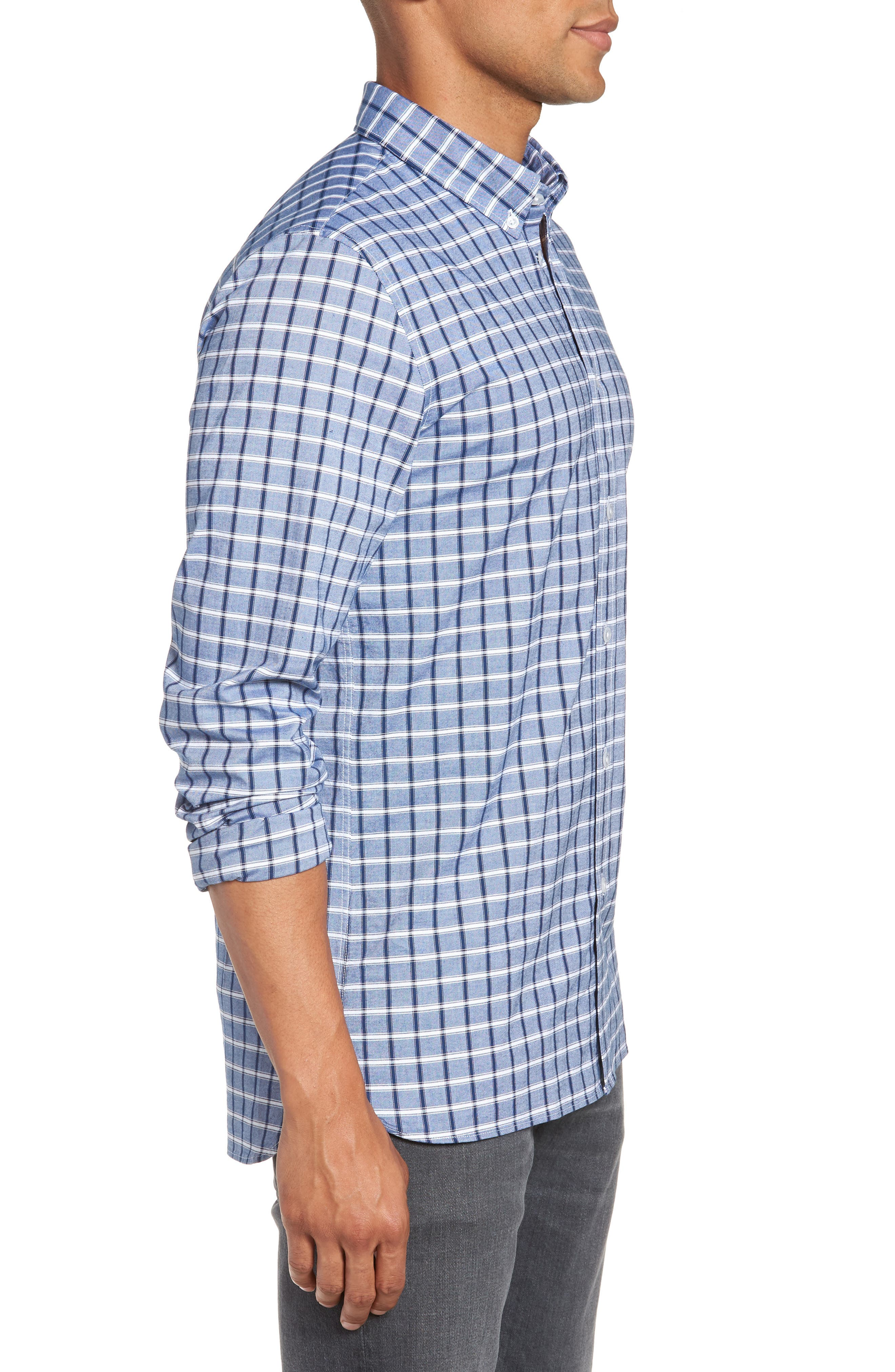 Slim Fit Check Oxford Sport Shirt,                             Alternate thumbnail 5, color,                             Navy Blue
