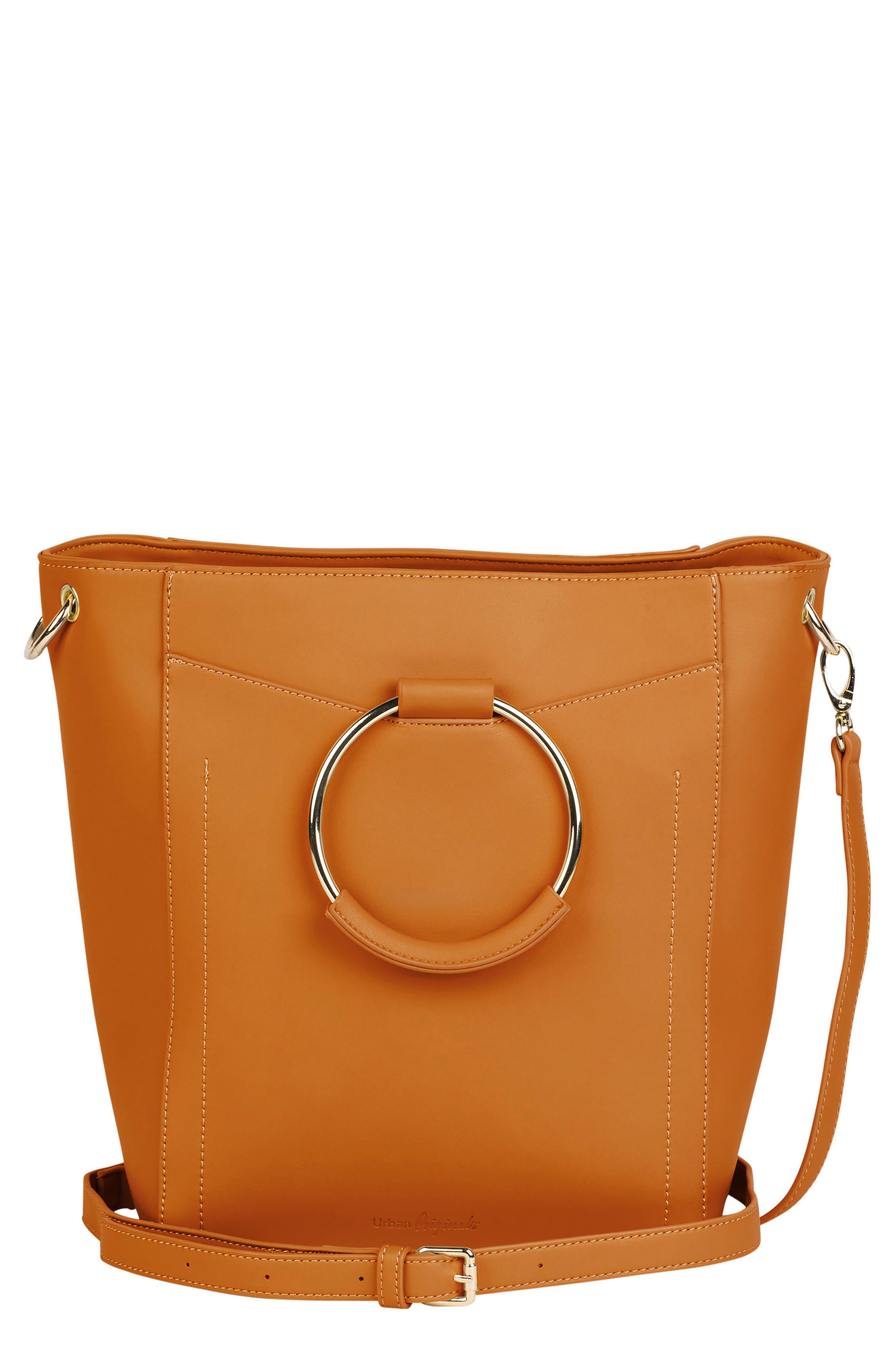 Luminescent Vegan Leather Crossbody Bag,                             Main thumbnail 1, color,                             Tan