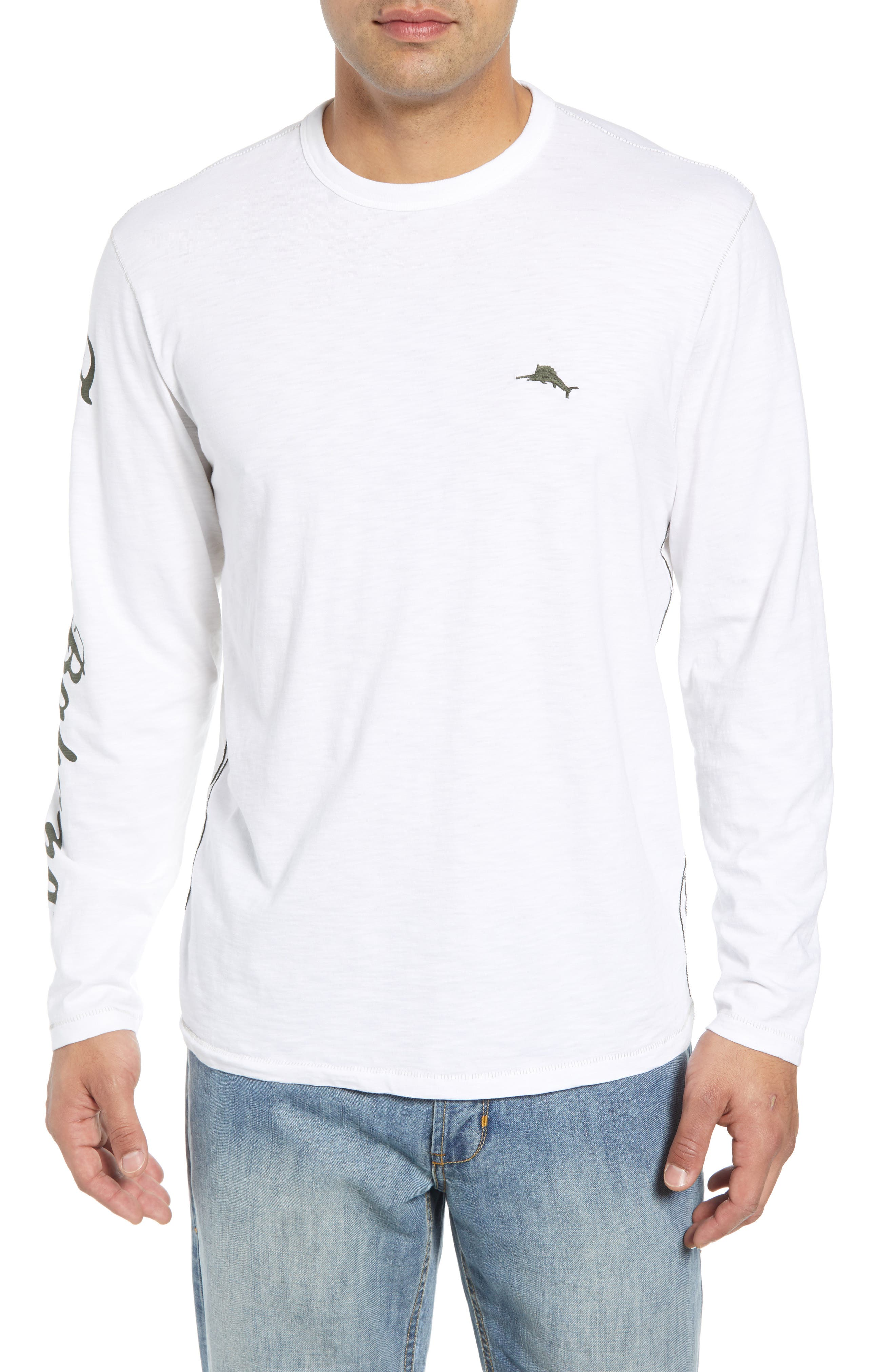 Palm Billboard Marlin Lux Long Sleeve T-Shirt,                             Main thumbnail 1, color,                             White