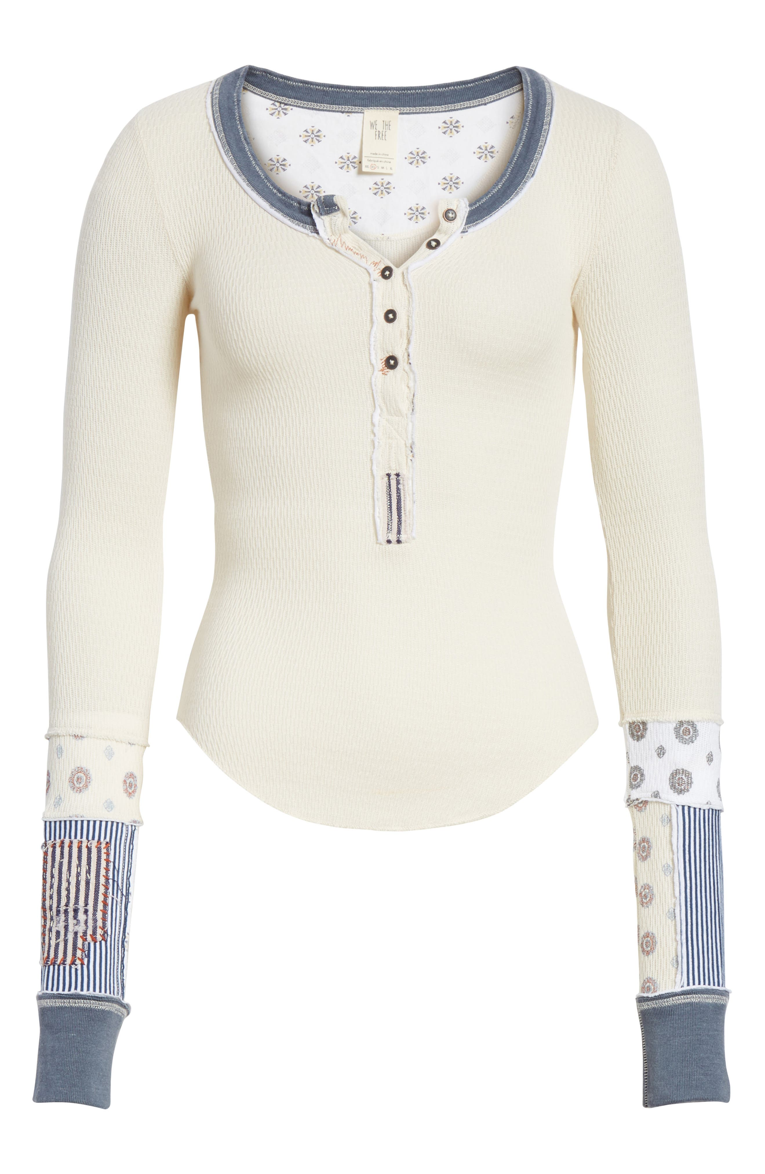 We the Free by Free People Railroad Henley Top,                             Alternate thumbnail 7, color,                             Ivory