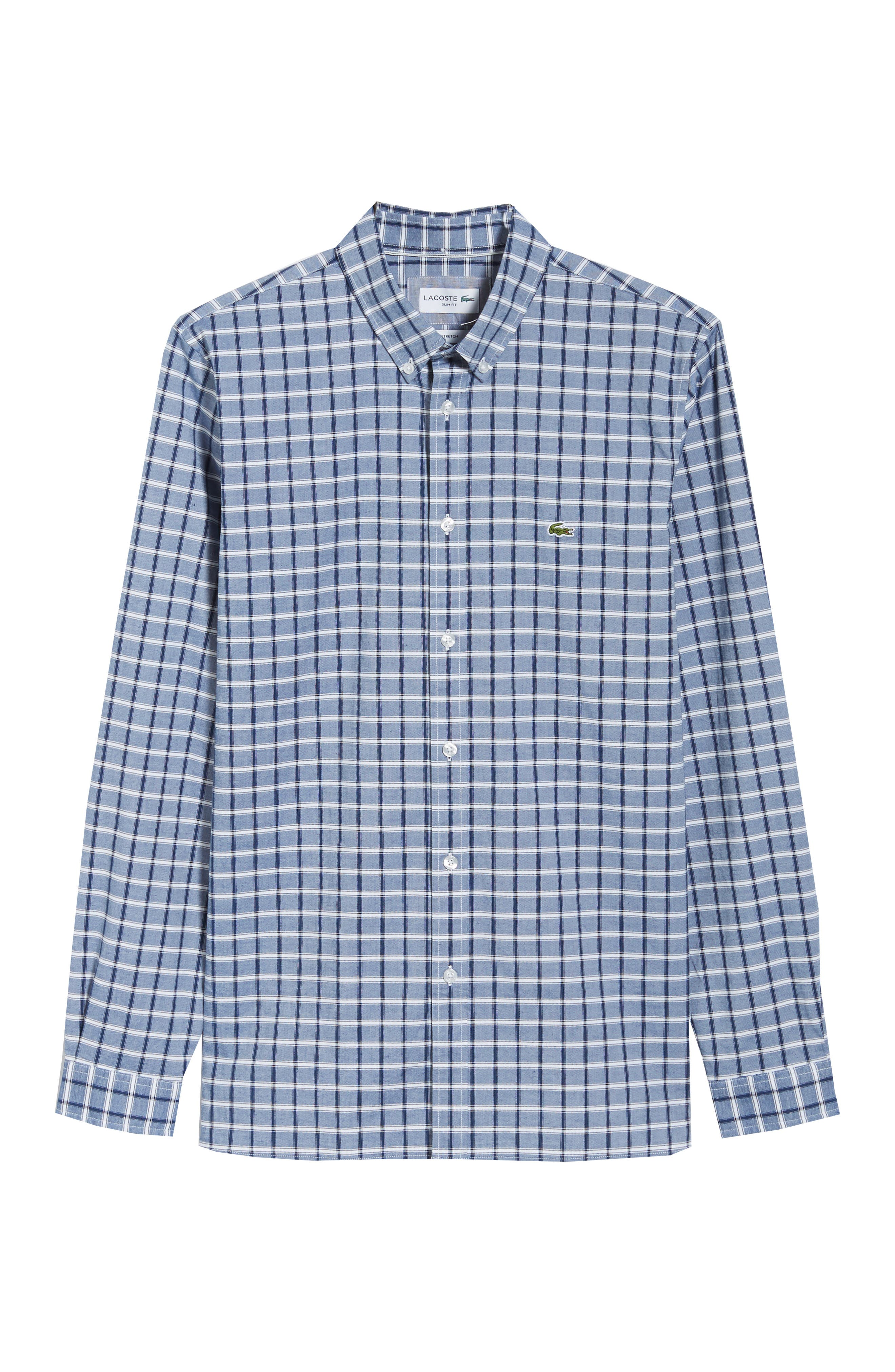 Slim Fit Check Oxford Sport Shirt,                             Alternate thumbnail 6, color,                             Navy Blue
