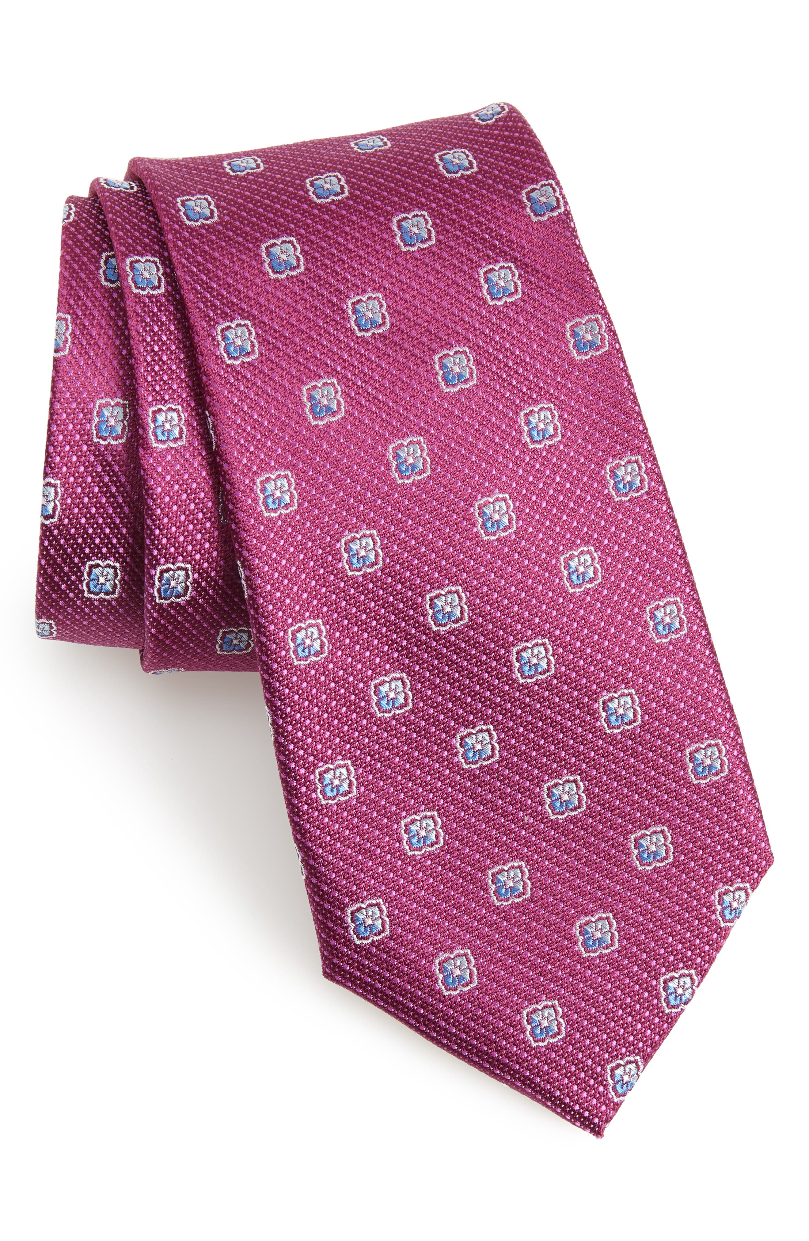 Leary Medallion Silk Tie,                             Main thumbnail 1, color,                             Magenta