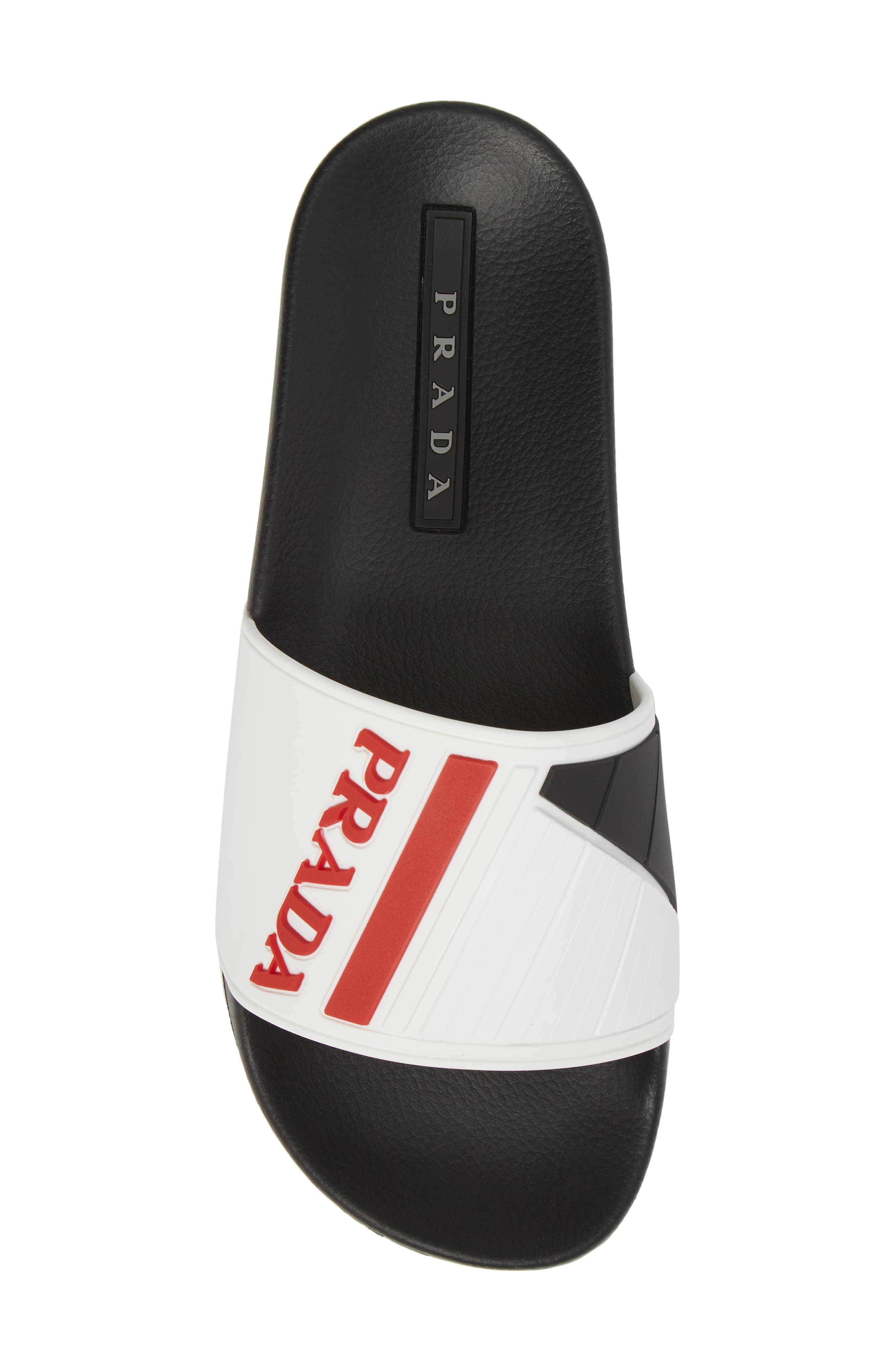 Linea Rossa Logo Slide Sandal,                             Alternate thumbnail 3, color,                             White/ Rosso