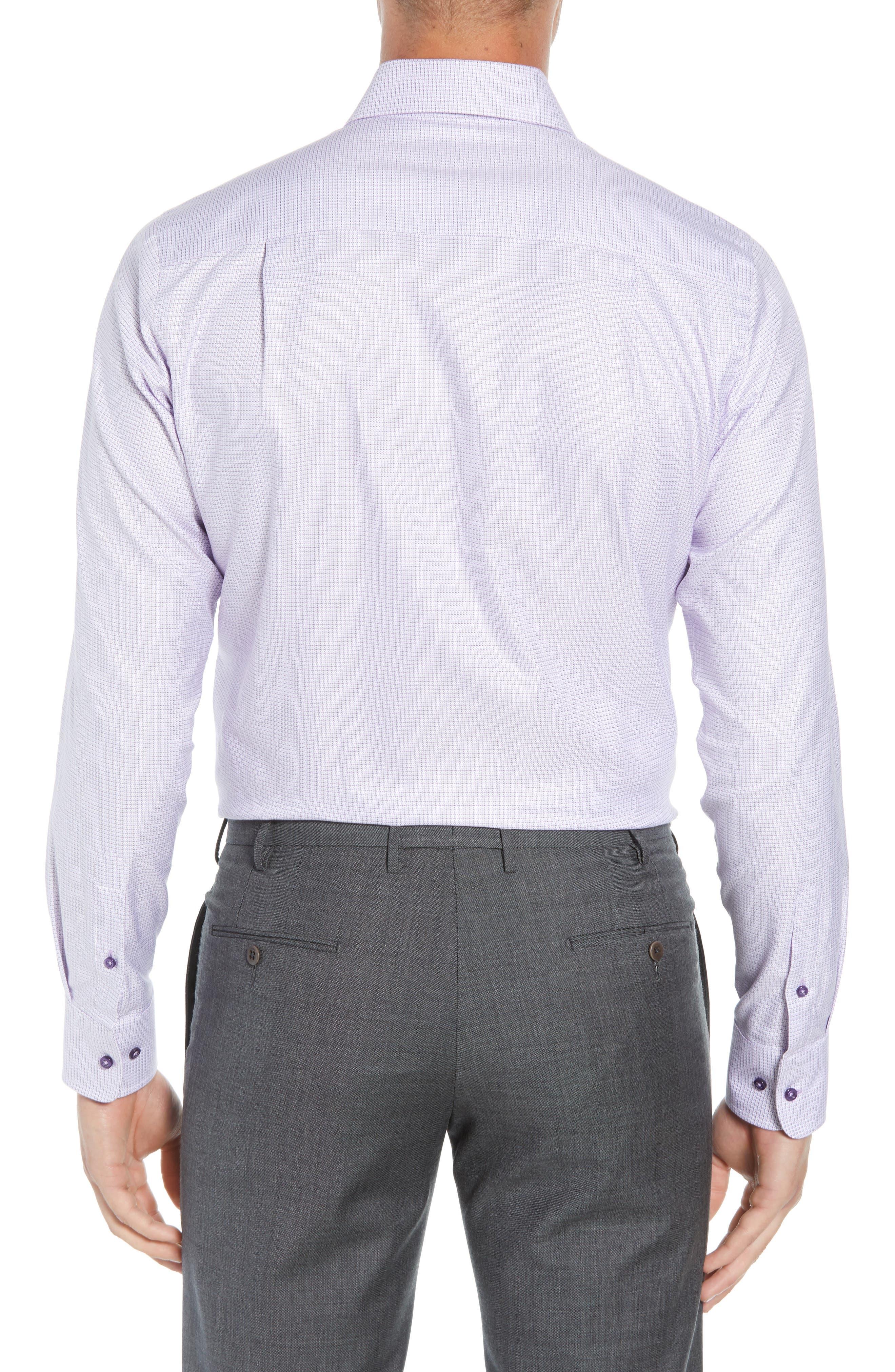 Regular Fit Check Dress Shirt,                             Alternate thumbnail 3, color,                             Lilac