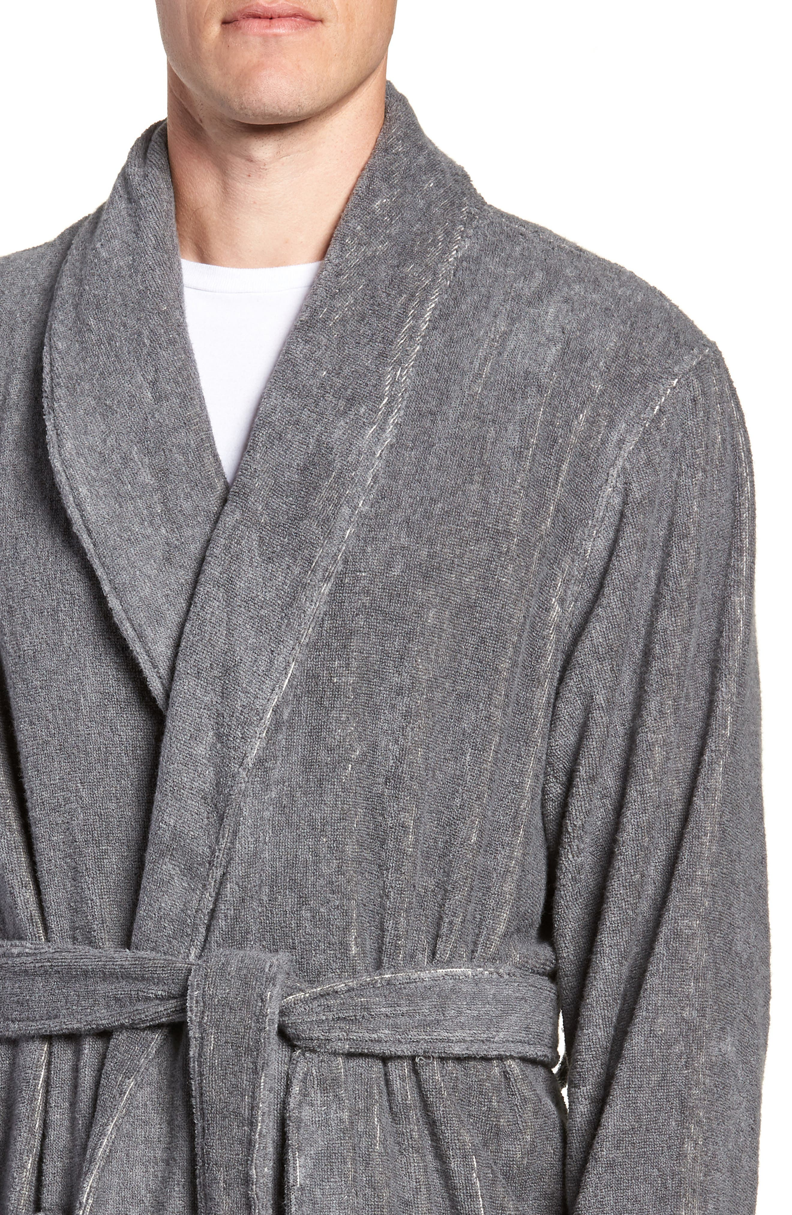 Hydro Cotton Terry Robe,                             Alternate thumbnail 4, color,                             Charcoal Heather