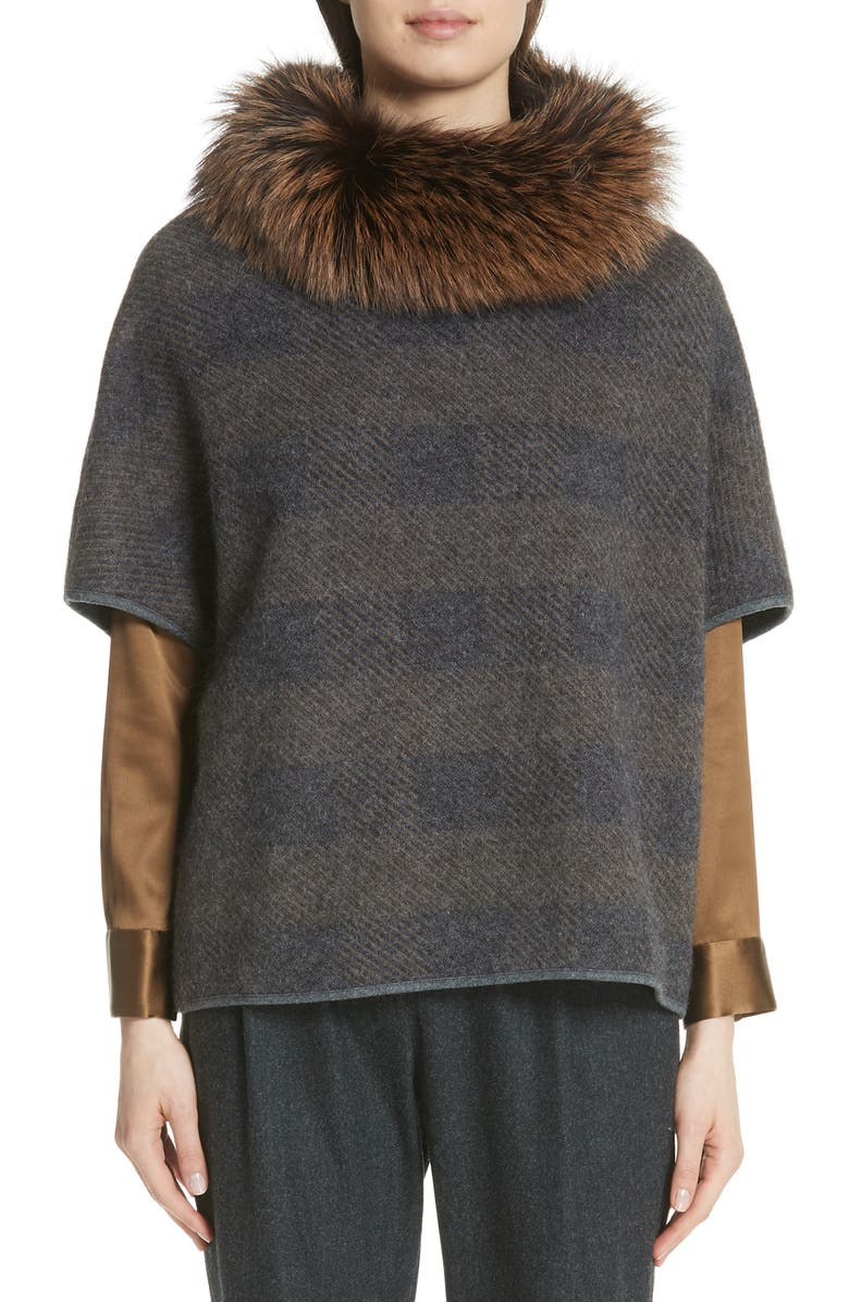 Knit Poncho with Removable Genuine Fox Fur Collar
