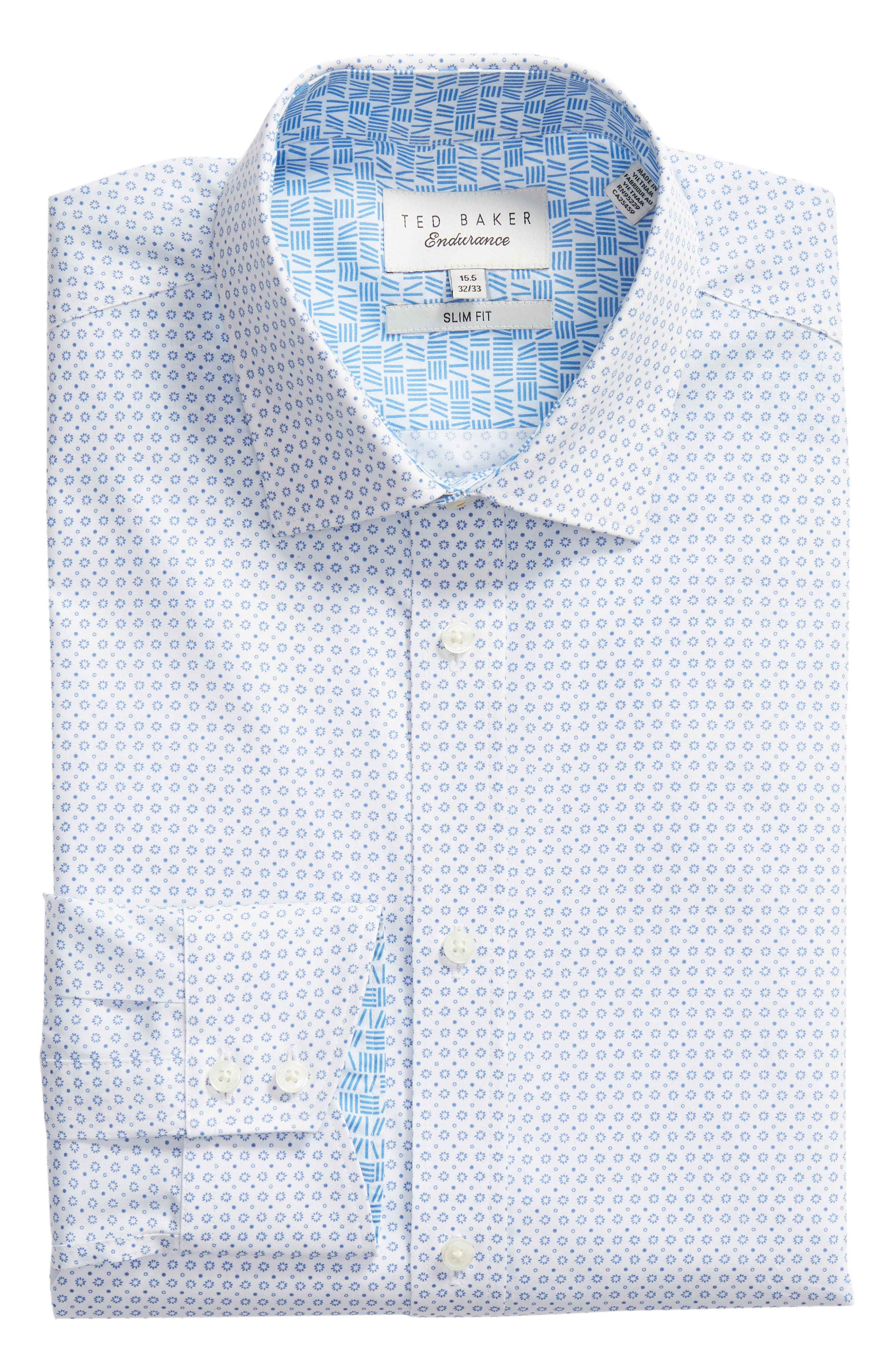 Trim Fit Geometric Dress Shirt,                             Alternate thumbnail 6, color,                             Blue