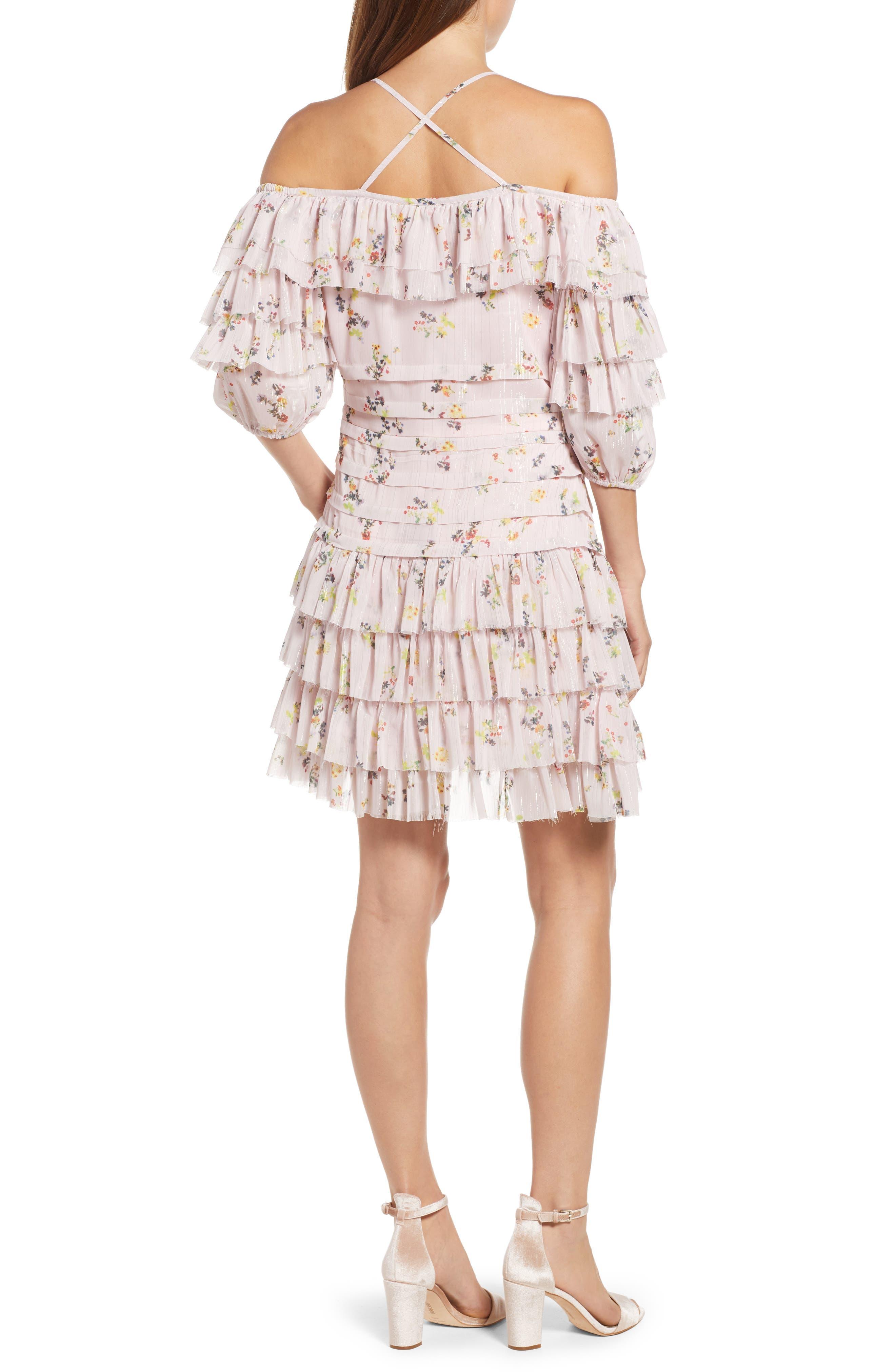 Mina Ruffled Cold Shoulder Dress,                             Alternate thumbnail 2, color,                             Multi