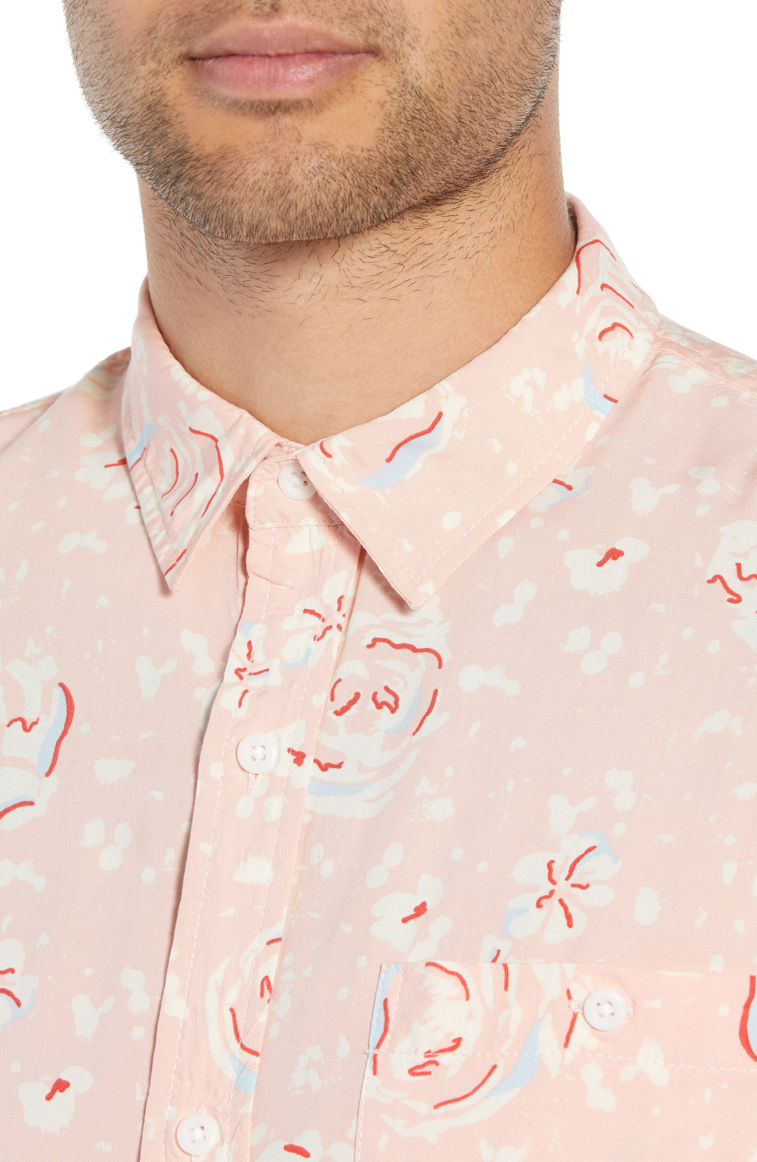 Print Woven Shirt,                             Alternate thumbnail 2, color,                             Pink Silver Abstract Floral