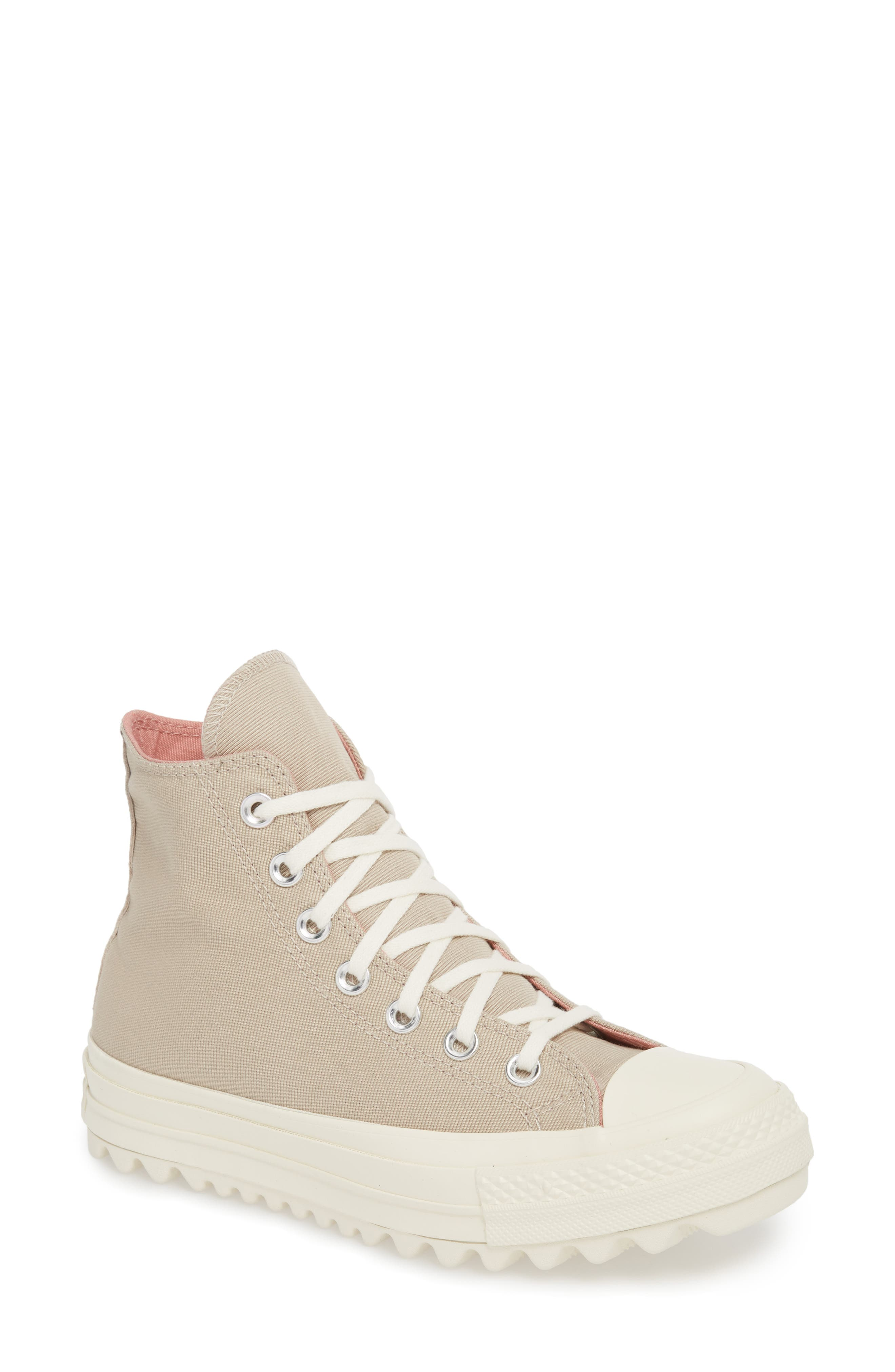 Chuck Taylor<sup>®</sup> All Star<sup>®</sup> Ripple High Top Sneaker,                         Main,                         color, Papyrus Suede