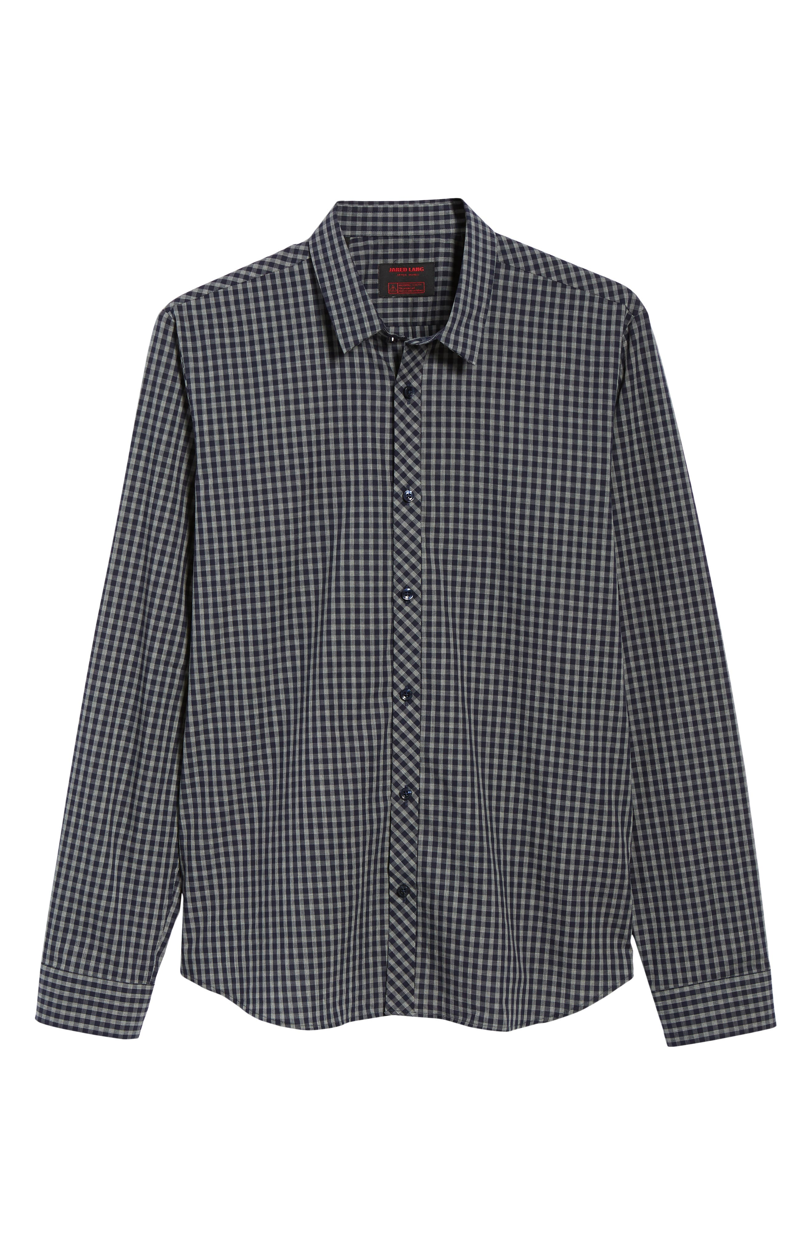 Trim Fit Sport Shirt,                             Alternate thumbnail 5, color,                             Navy Grey Check