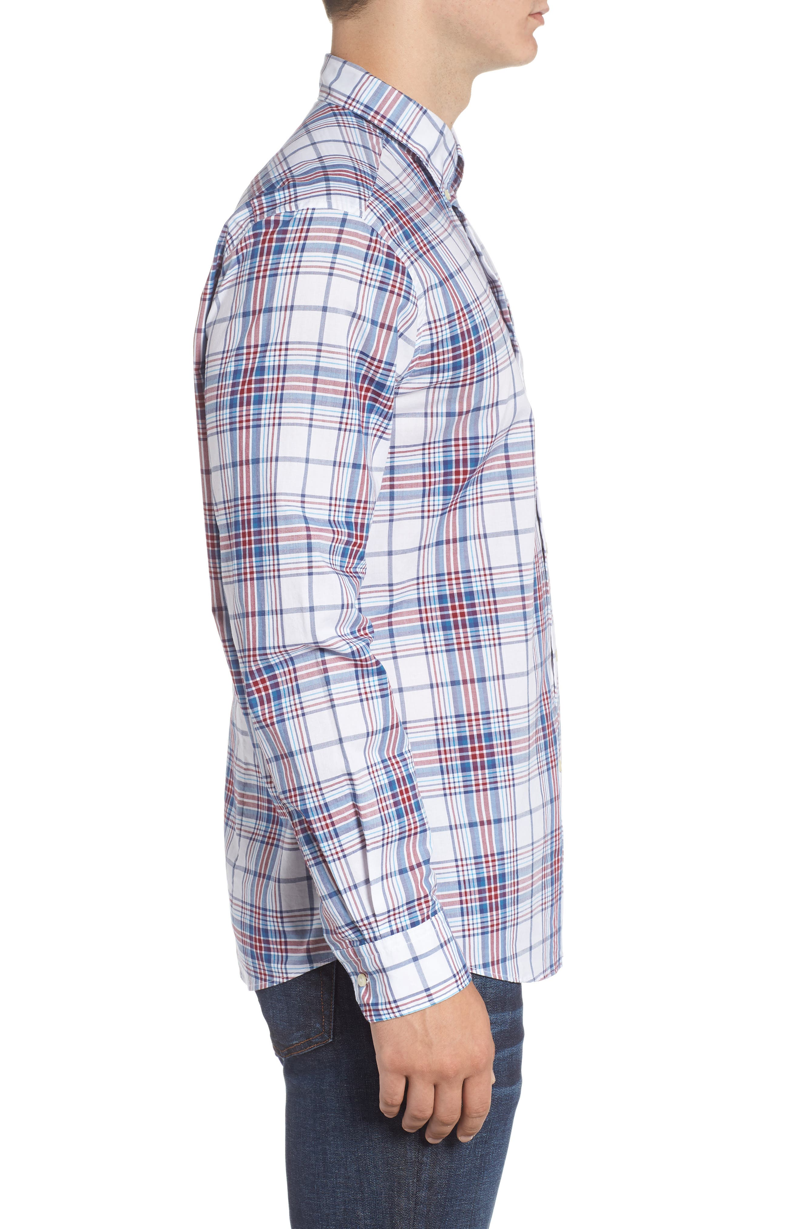 Christopher Tailored Fit Plaid Sport Shirt,                             Alternate thumbnail 4, color,                             Biking Red