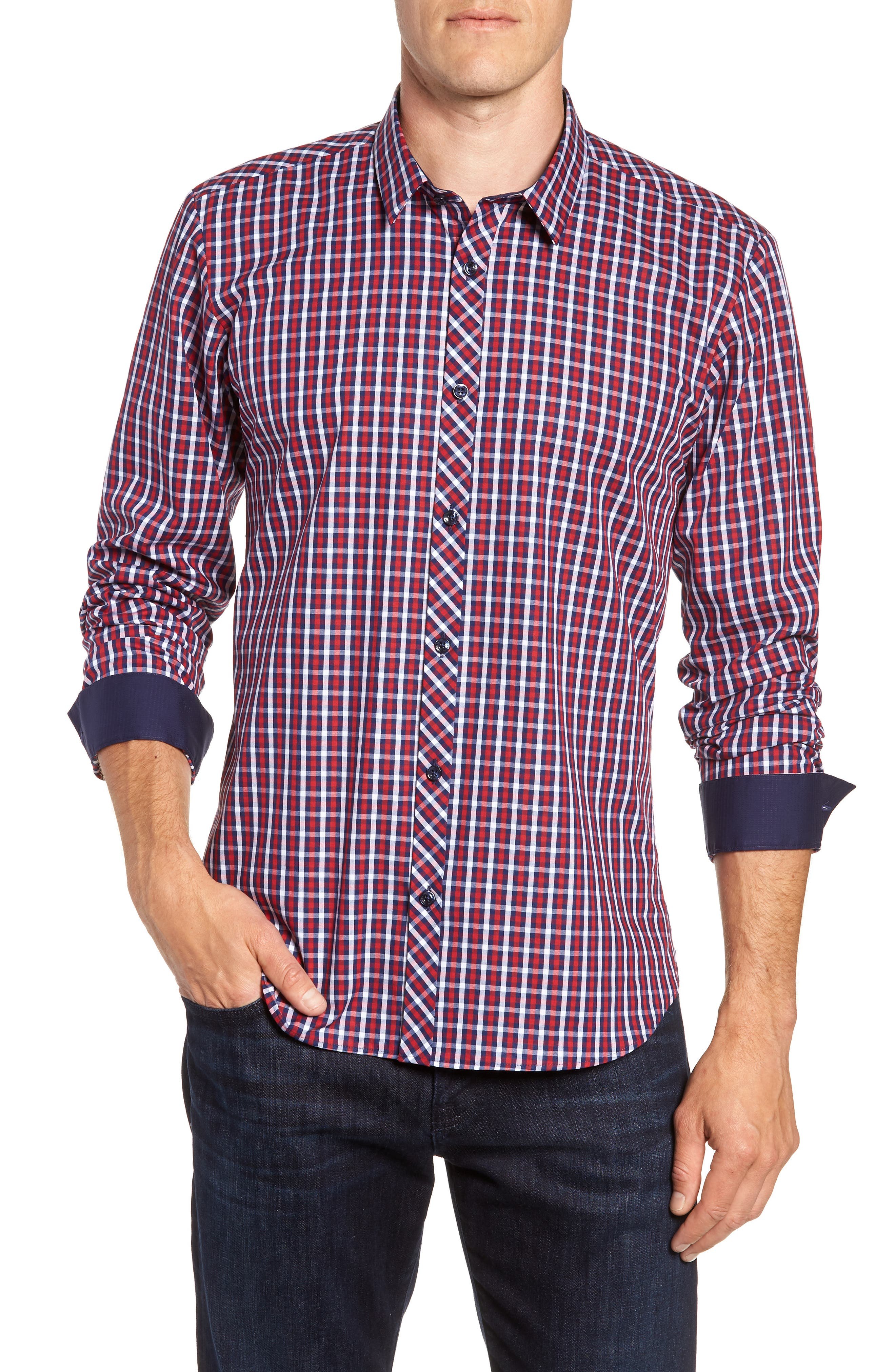 Trim Fit Sport Shirt,                         Main,                         color, Navy Red Check