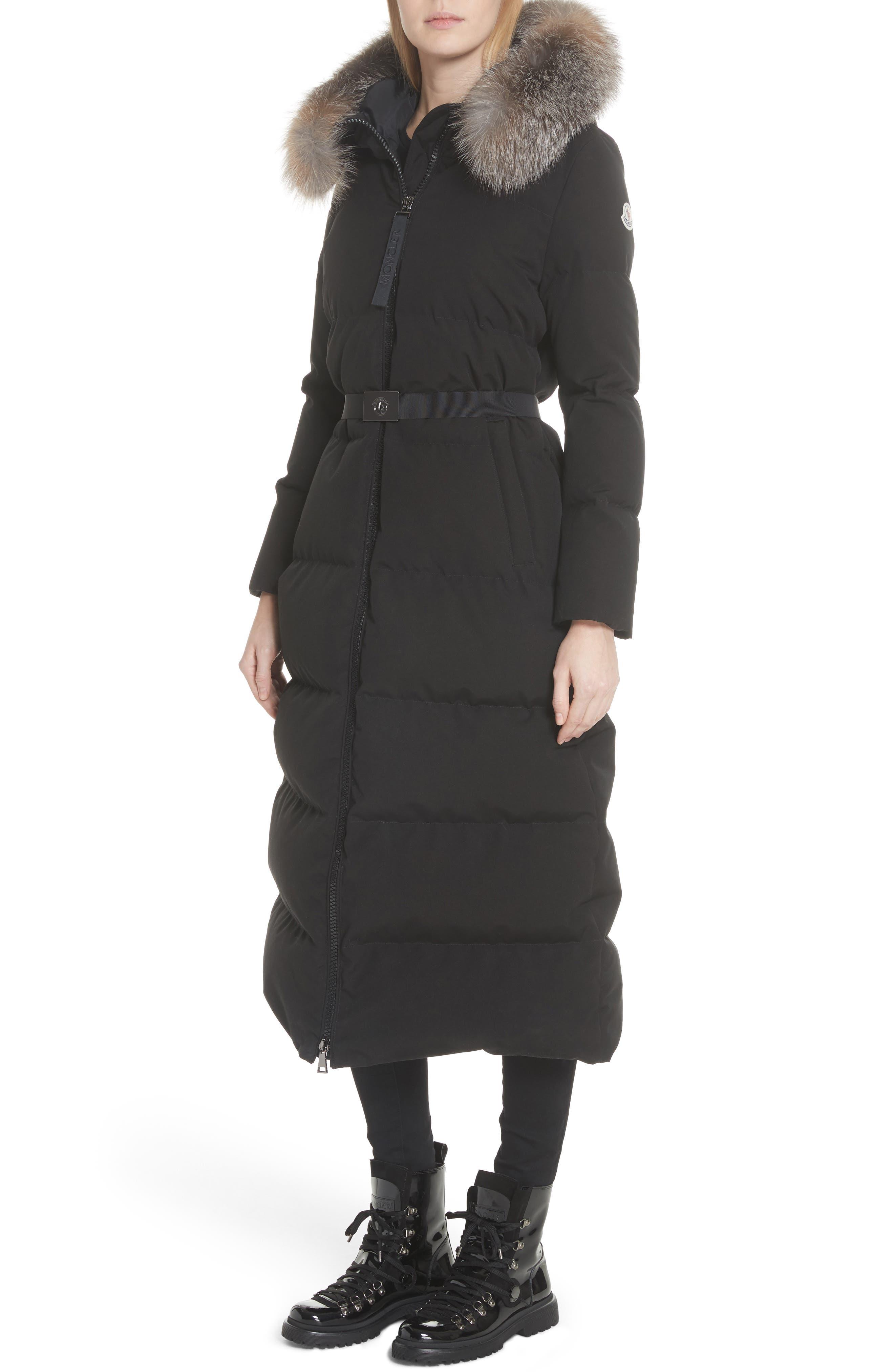 Bernache Hooded Down Coat with Removable Genuine Fox Fur Trim,                             Alternate thumbnail 4, color,                             Black