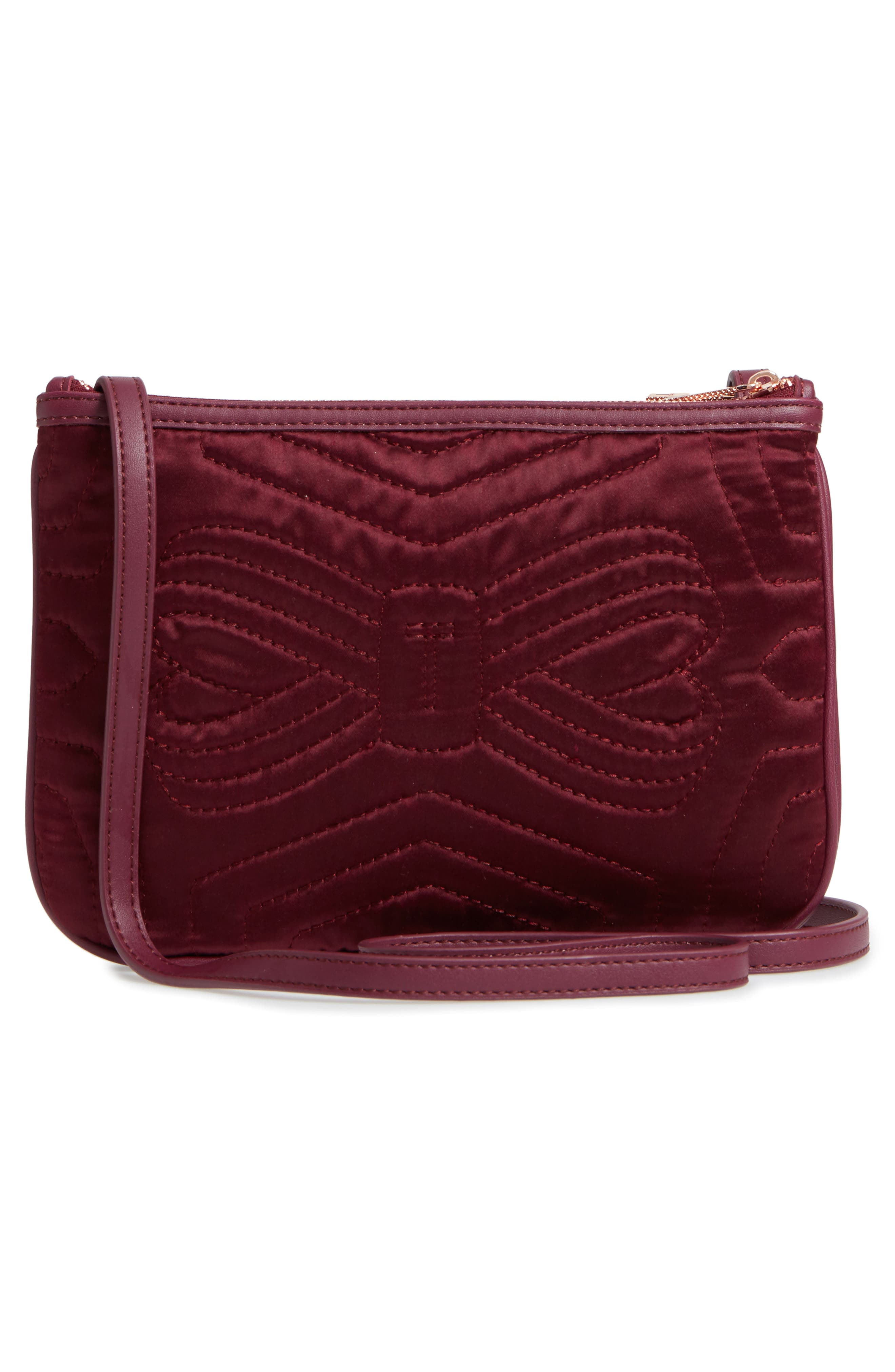 Quilted Bow Crossbody Bag,                             Alternate thumbnail 6, color,                             Maroon