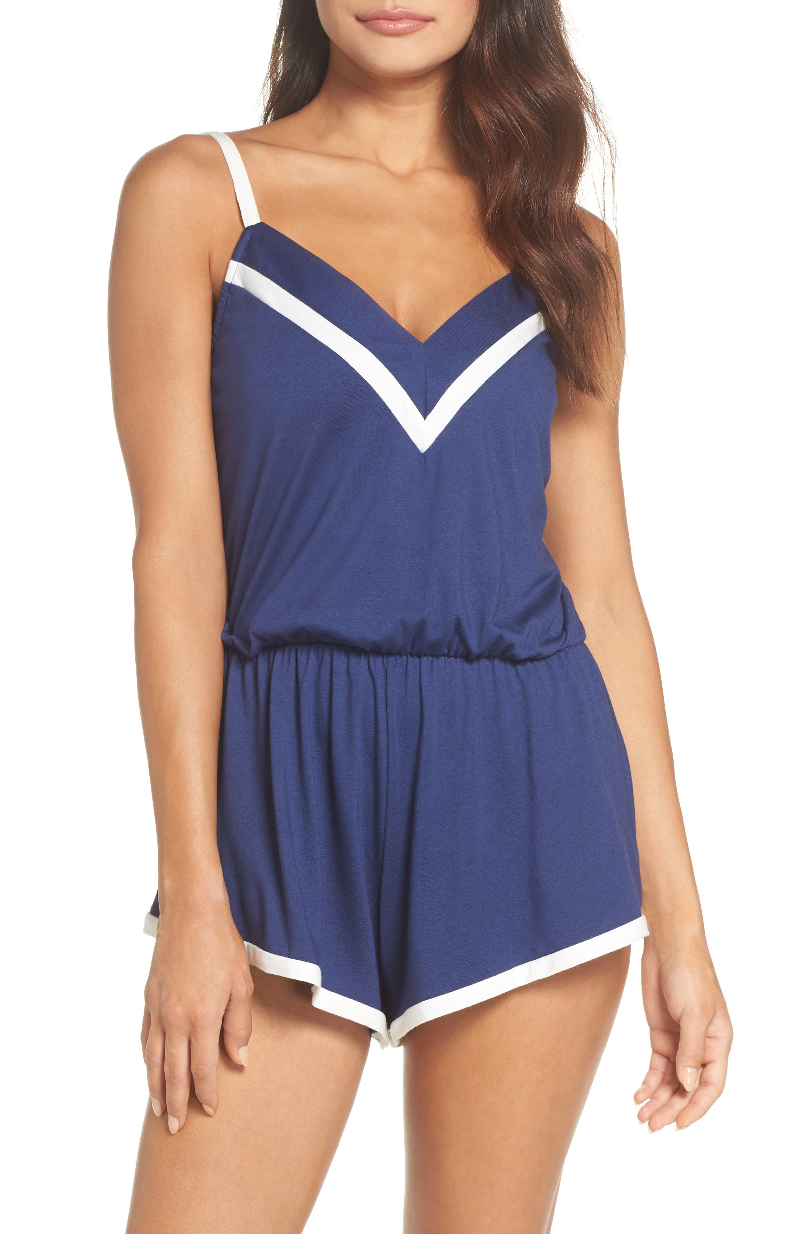 Bella Striped-Trim Teddy Amore2211 in Marble Blue