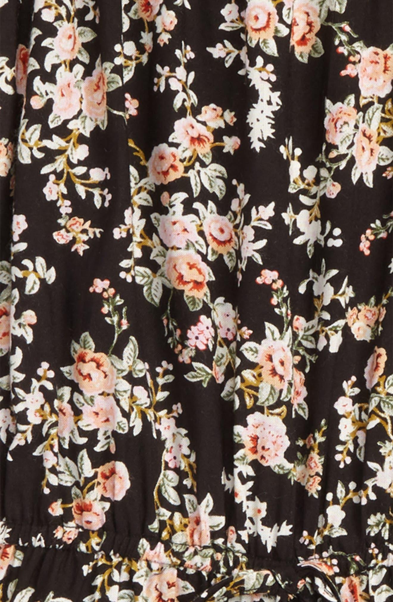 Floral Off the Shoulder Romper,                             Alternate thumbnail 2, color,                             Black/ Peach