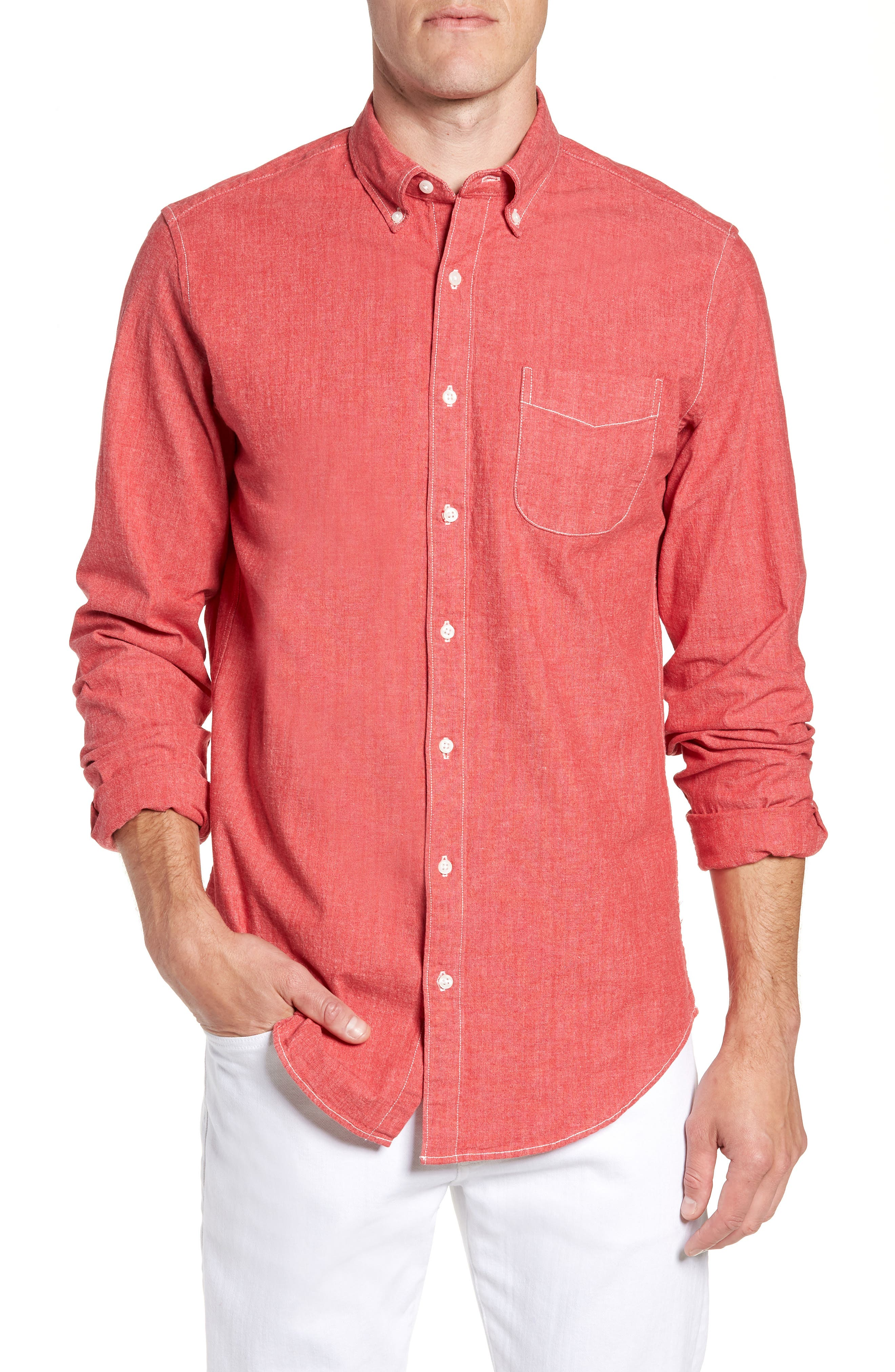 Slim Fit Stretch Chambray Sport Shirt,                         Main,                         color, Coral Reef