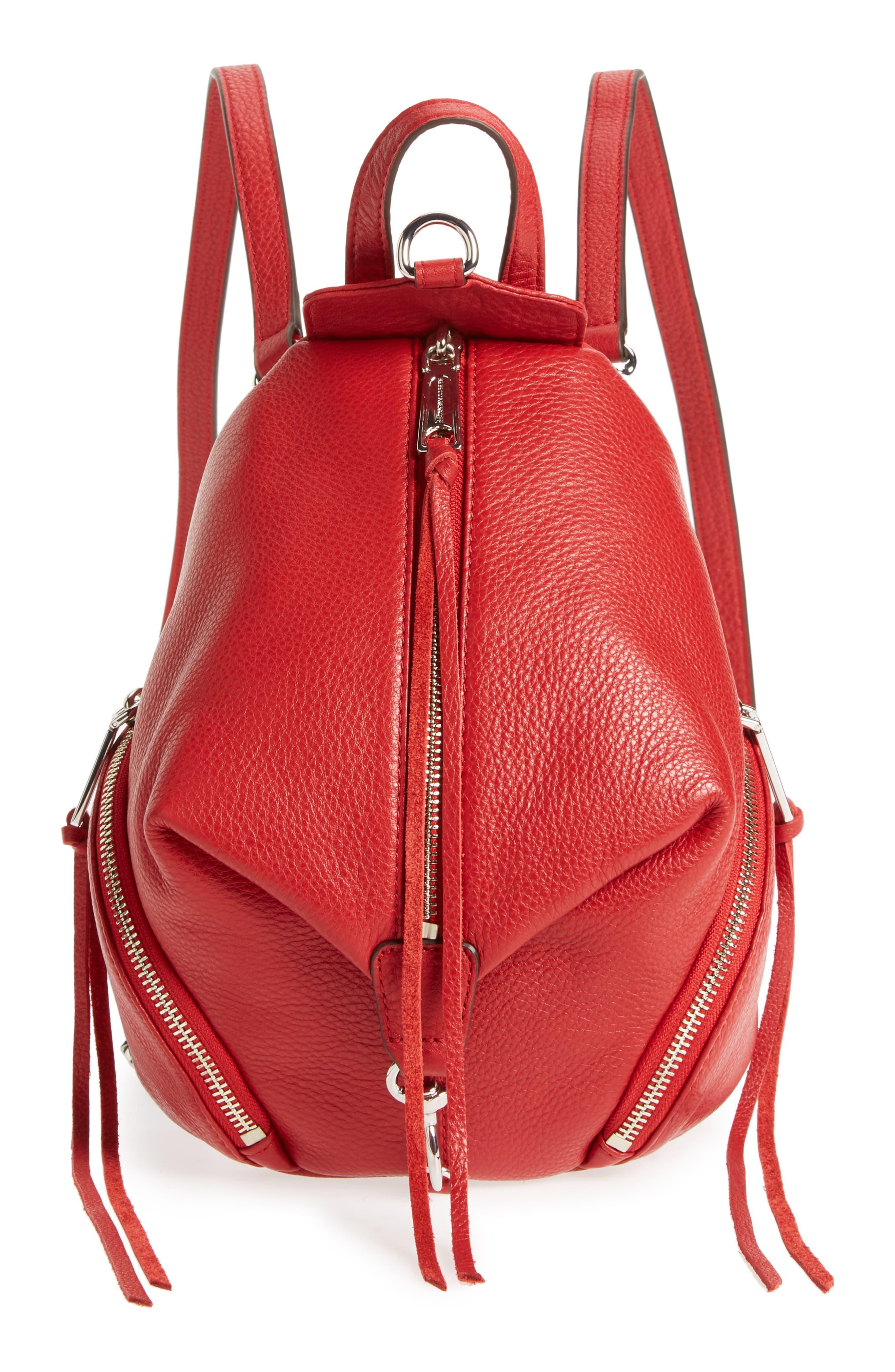 Mini Julian Nubuck Leather Convertible Backpack,                         Main,                         color, Scarlet