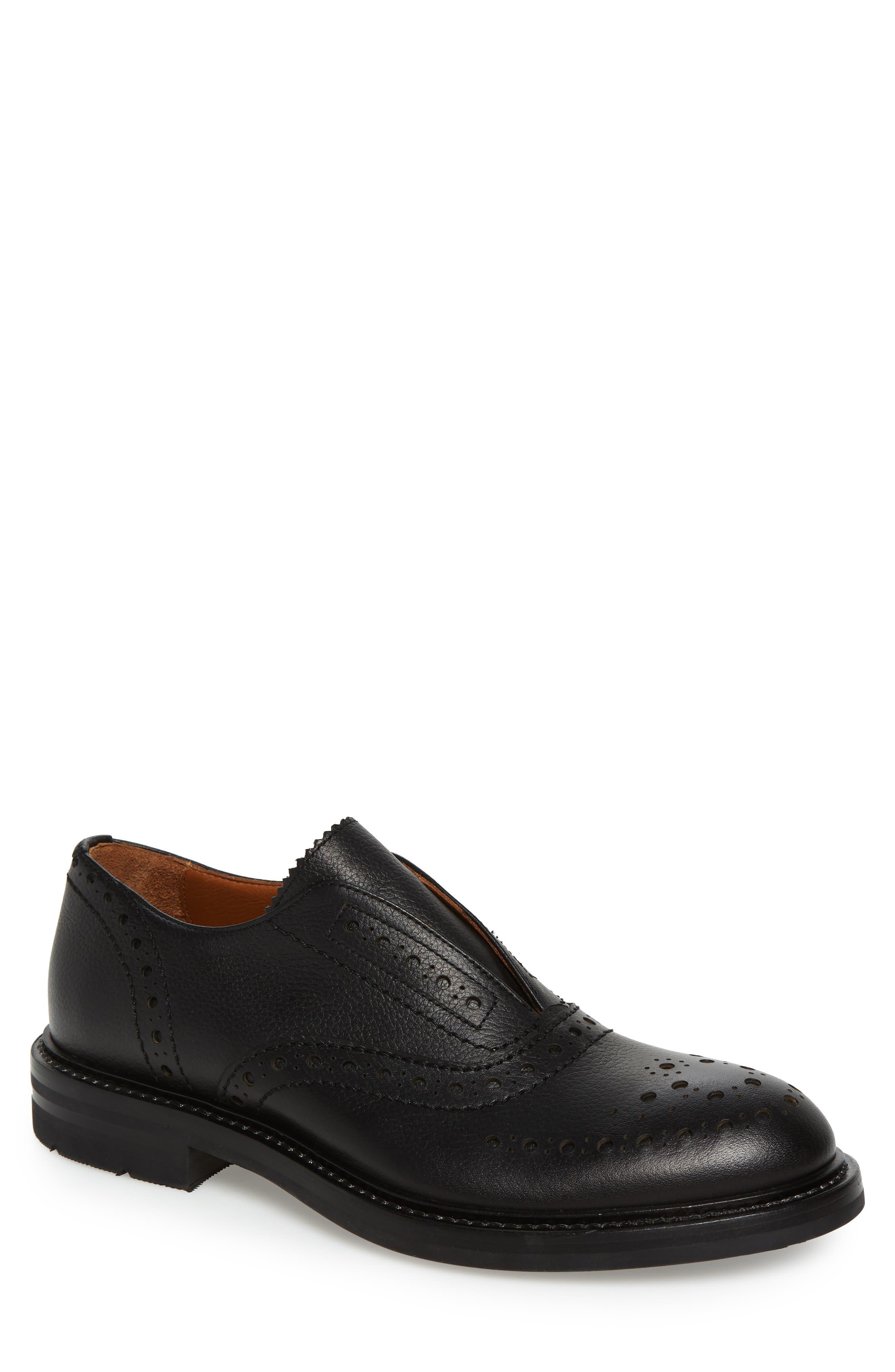 Romeo Weatherproof Laceless Oxford,                             Main thumbnail 1, color,                             Black Leather