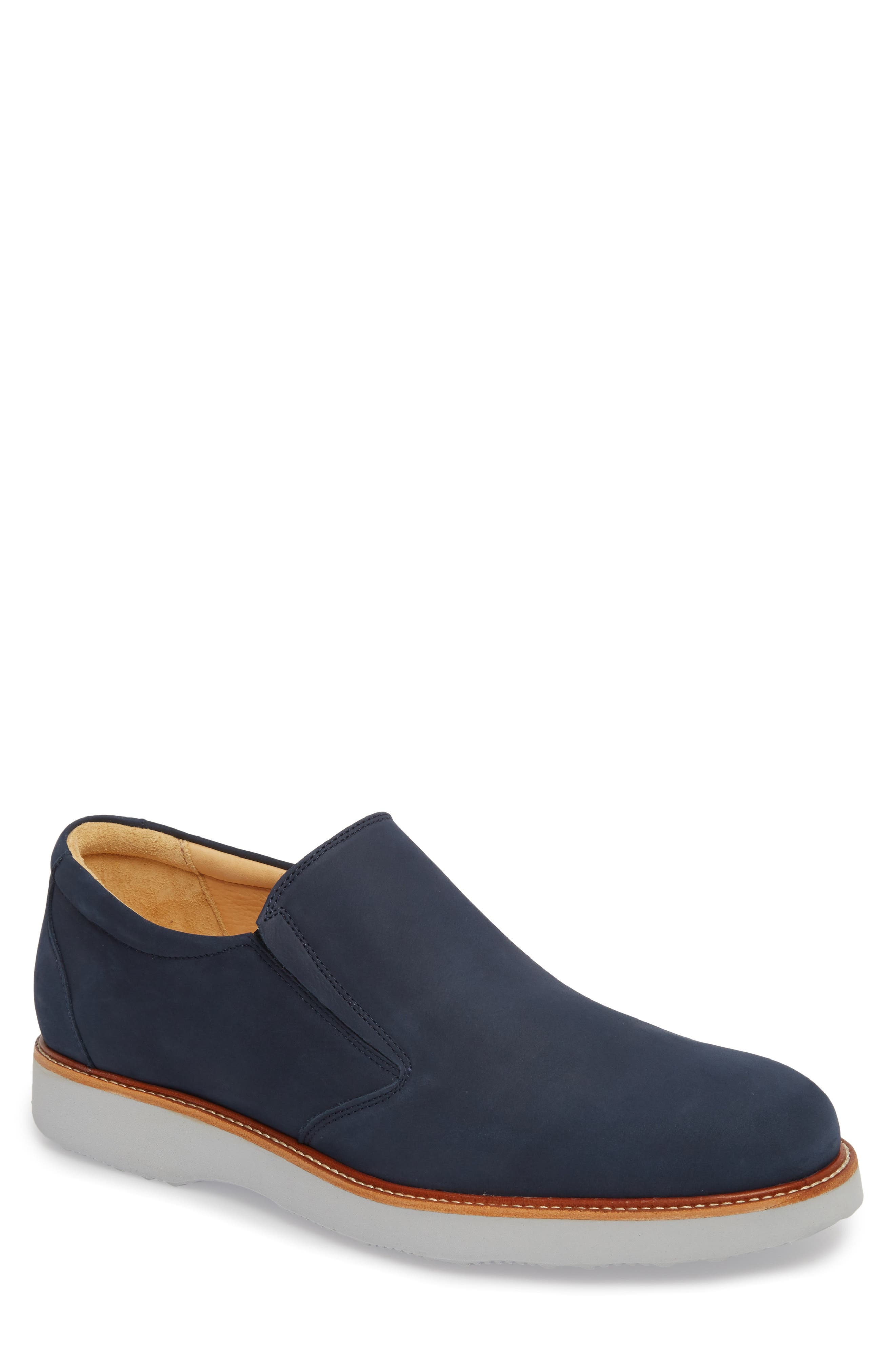 'Frequent Traveler' Slip-On,                             Main thumbnail 1, color,                             Navy Nubuck Leather
