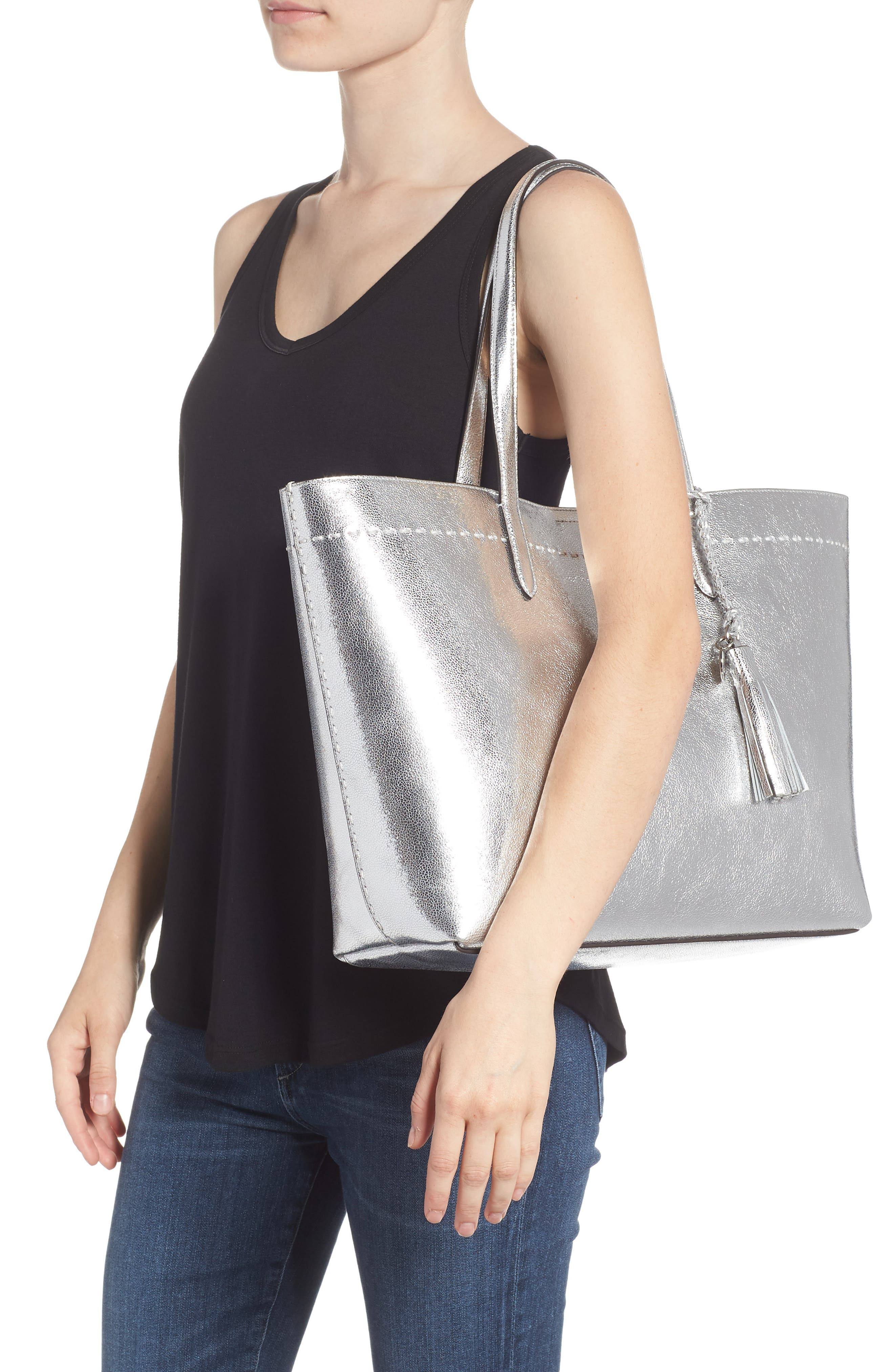Payson Metallic Leather Tote,                             Alternate thumbnail 2, color,                             Ch Silver