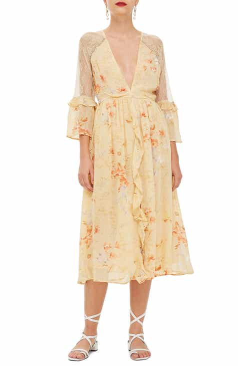 Topshop Lace Meadow Midi Dress