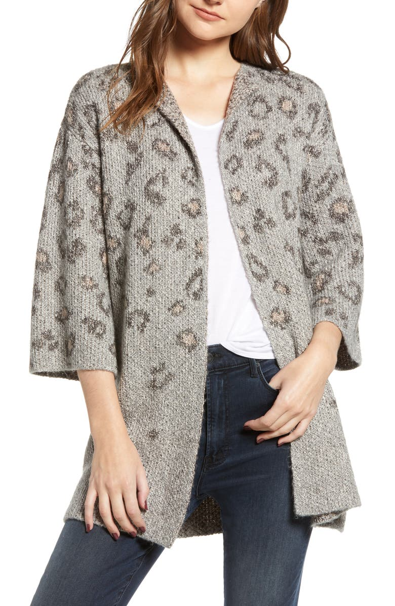 Leopard Print Cotton Blend Cardigan