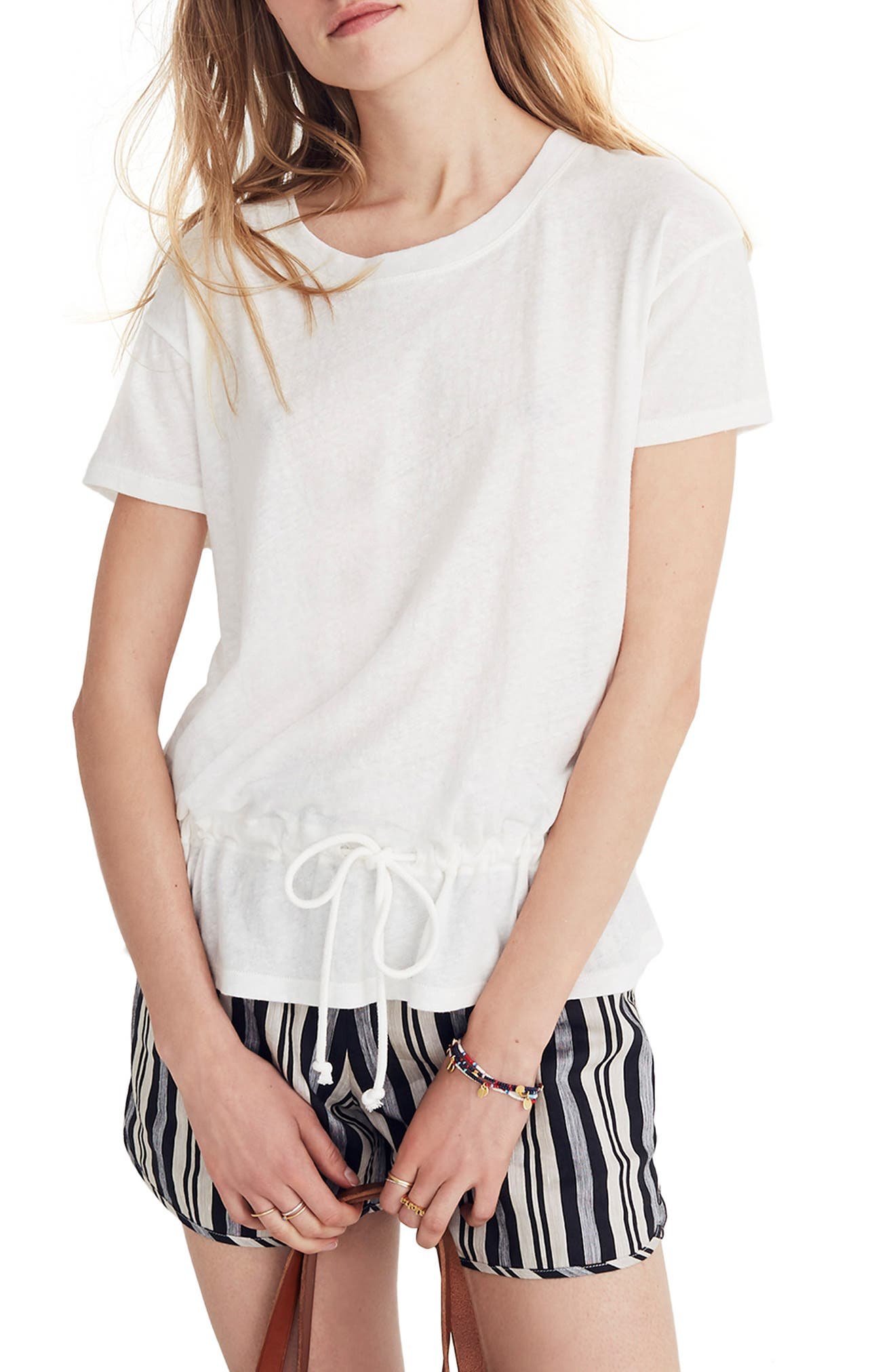Drawstring Tee,                         Main,                         color, Bright Ivory