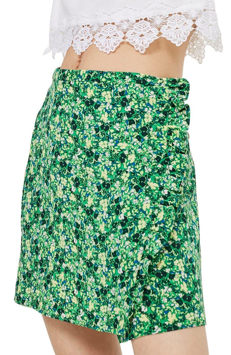 Green Meadow Ruffle Miniskirt