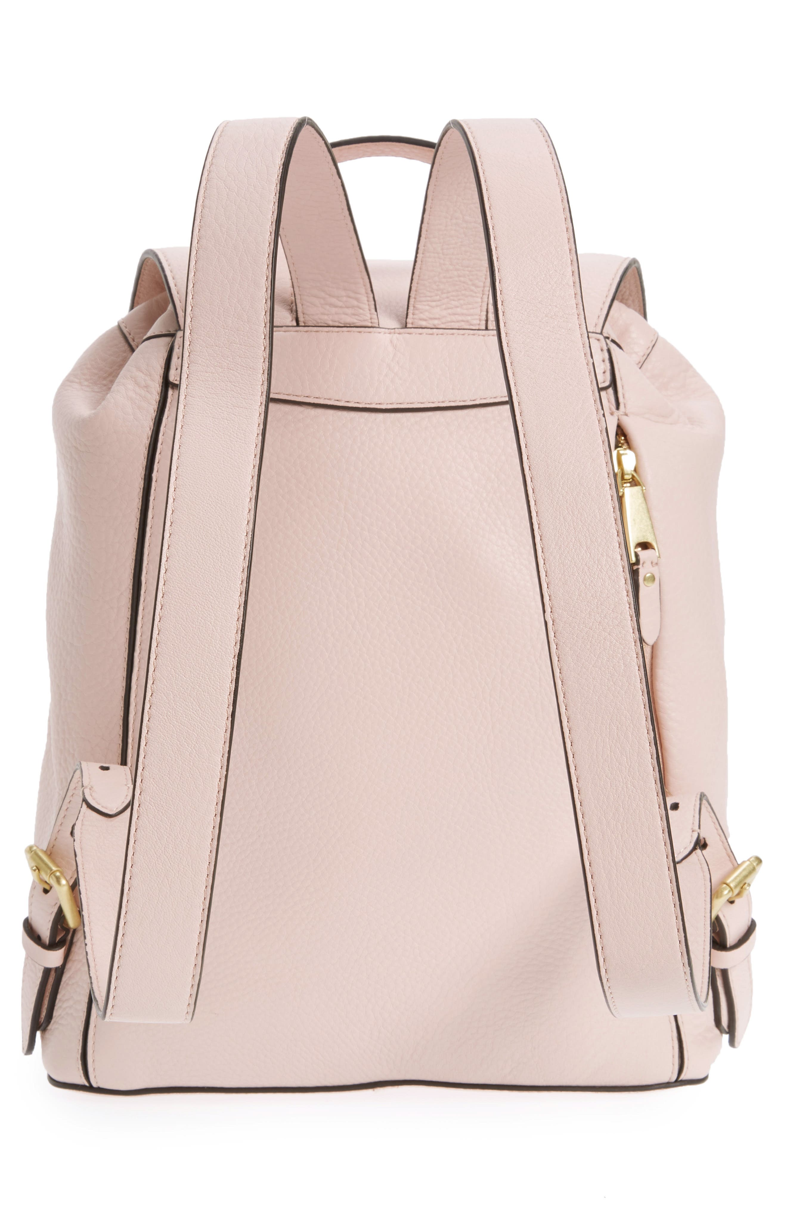 Cassidy RFID Pebbled Leather Backpack,                             Alternate thumbnail 4, color,                             Peach Blush