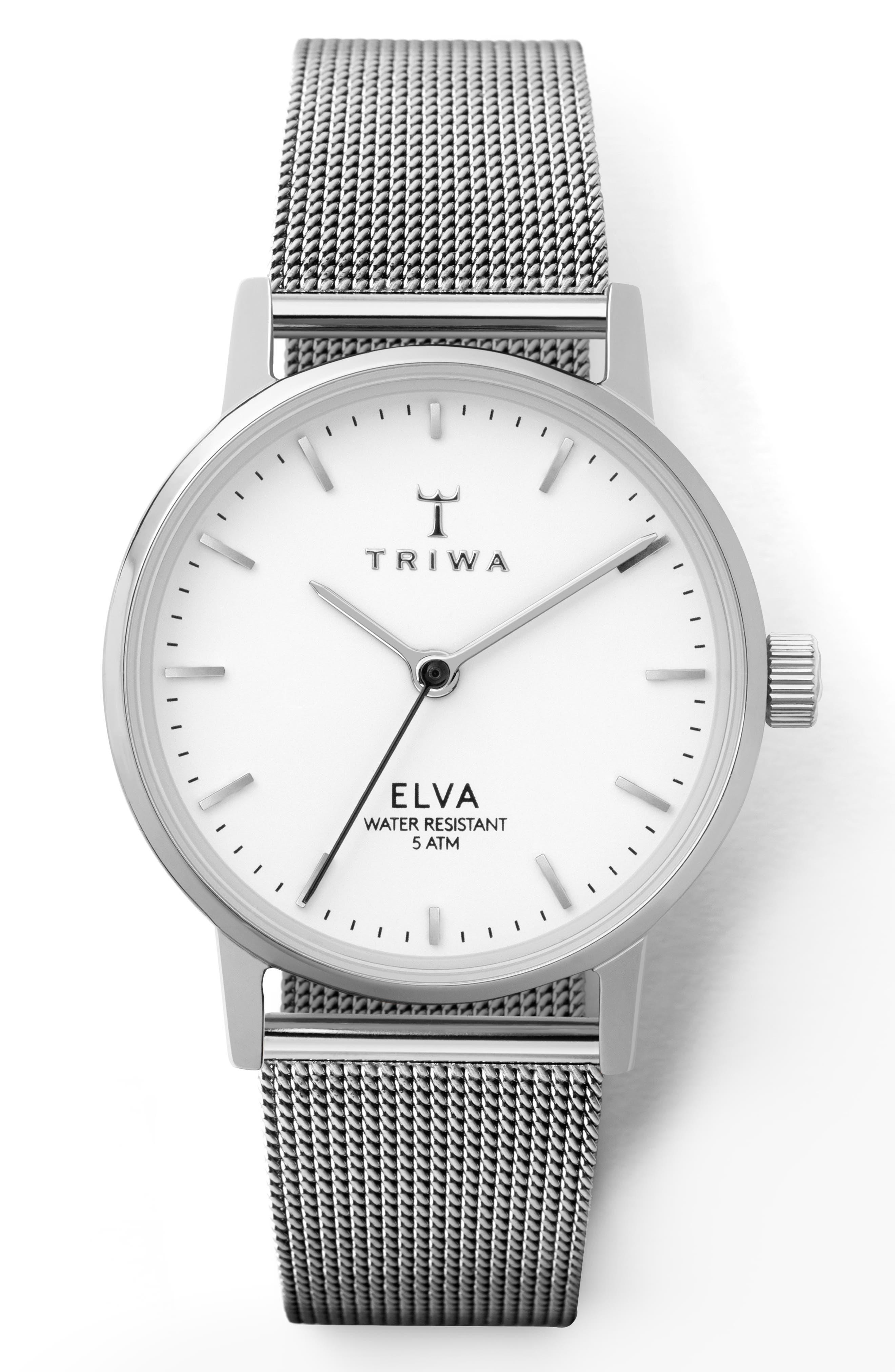 TRIWA Pearl Elva Mesh Strap Watch, 28Mm in Silver/ White/ Silver
