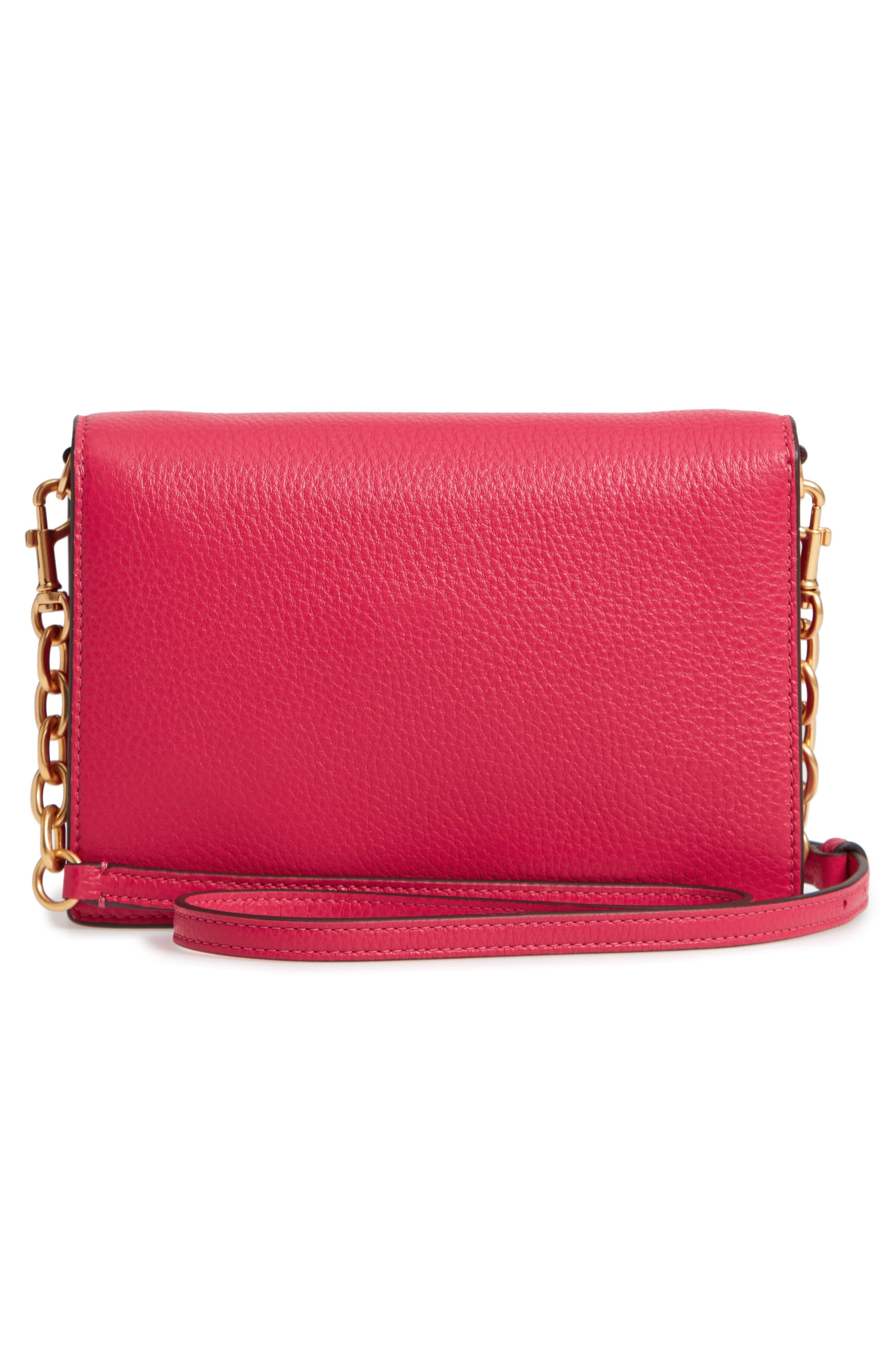 Georgia Pebble Leather Shoulder Bag,                             Alternate thumbnail 5, color,                             Bright Azalea