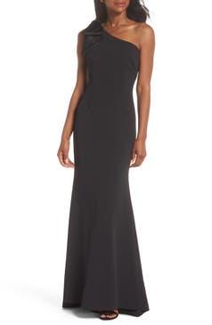 Eliza J One Shoulder A Line Gown Regular Petite