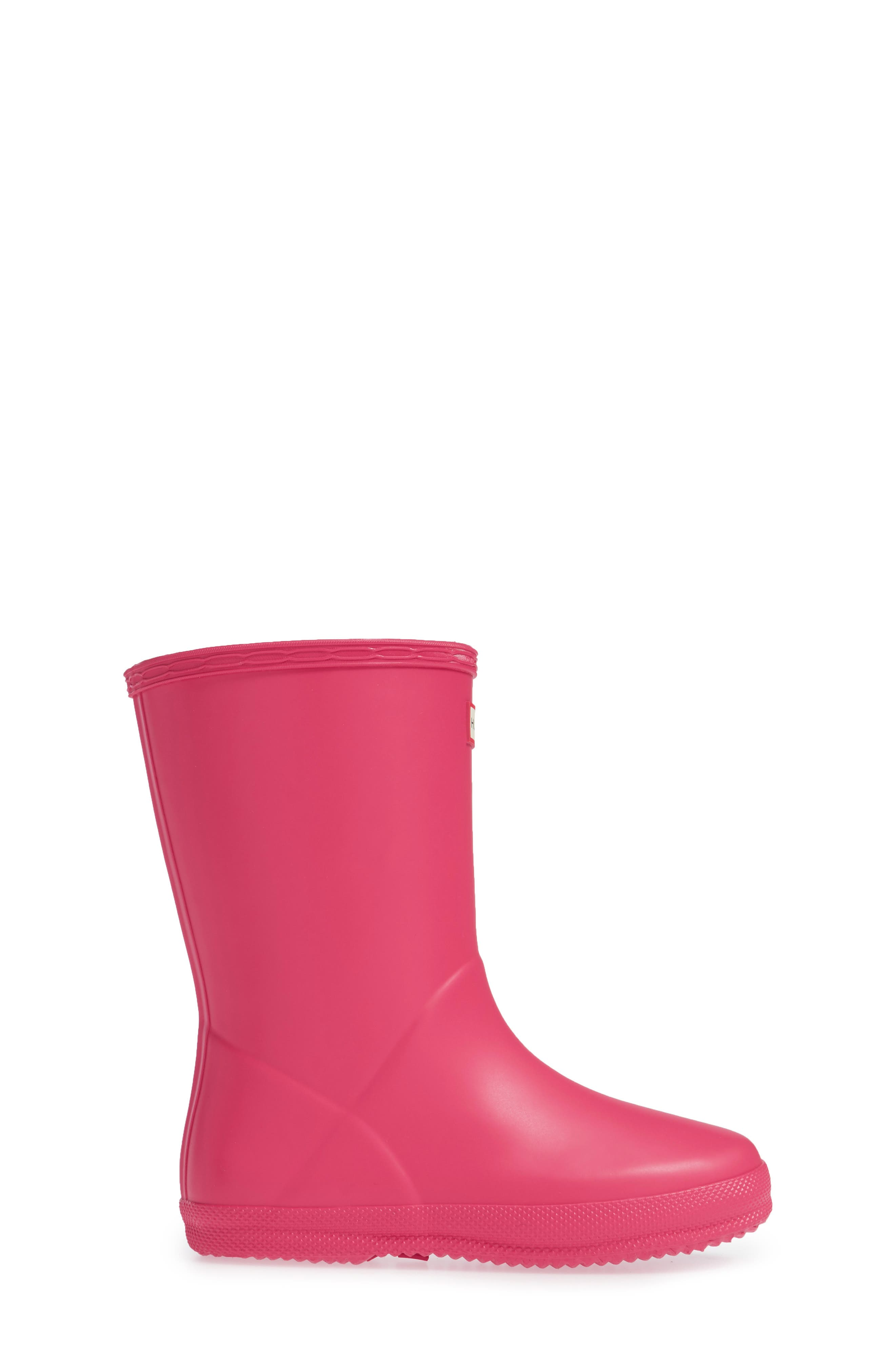 'First Classic' Rain Boot,                             Alternate thumbnail 3, color,                             Bright Pink
