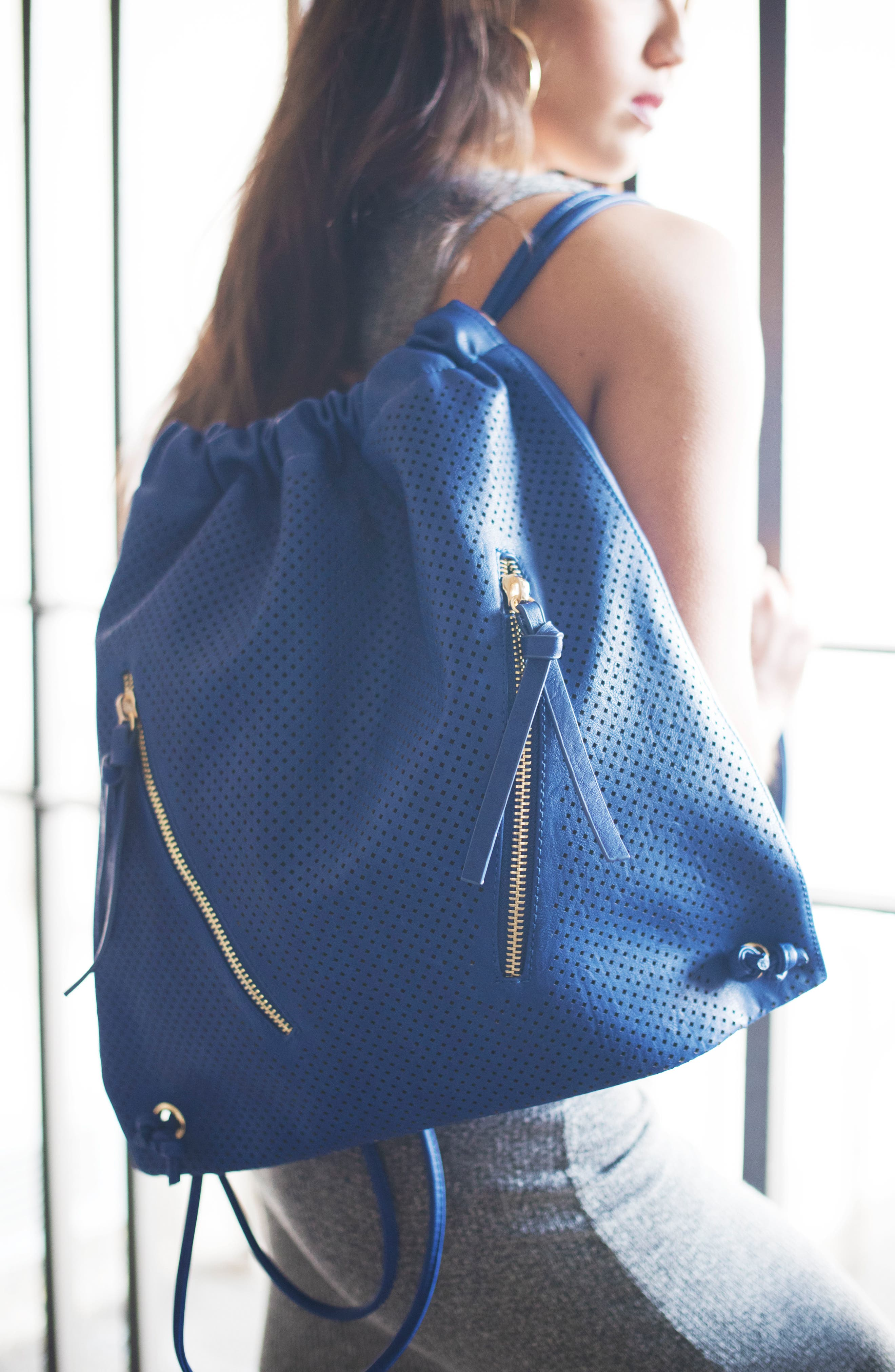 Perforated Double Zip Backpack,                             Alternate thumbnail 7, color,                             Cobalt