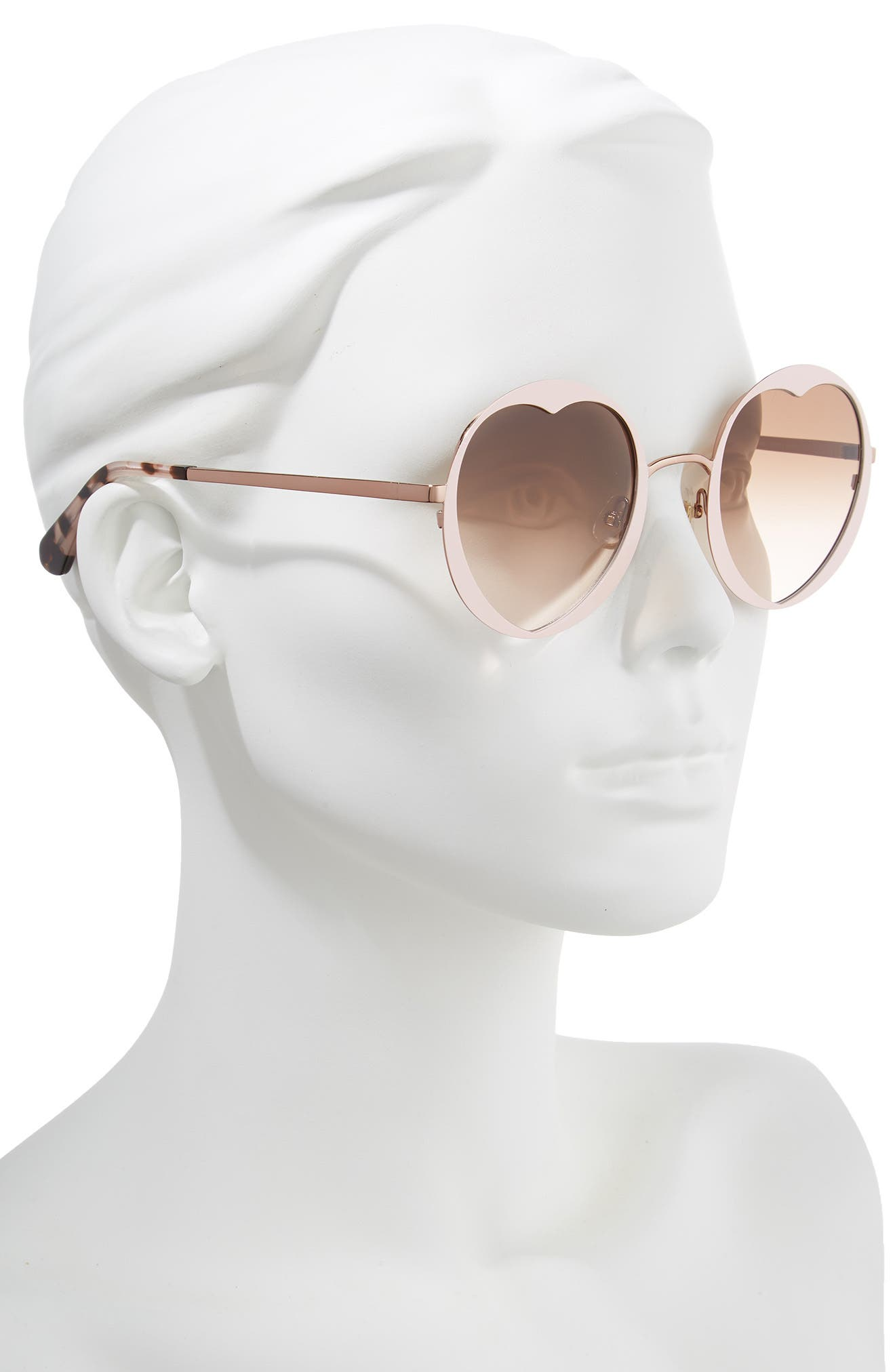 rosaria 53mm heart cutout lens sunglasses,                             Alternate thumbnail 2, color,                             Pink/ Havana