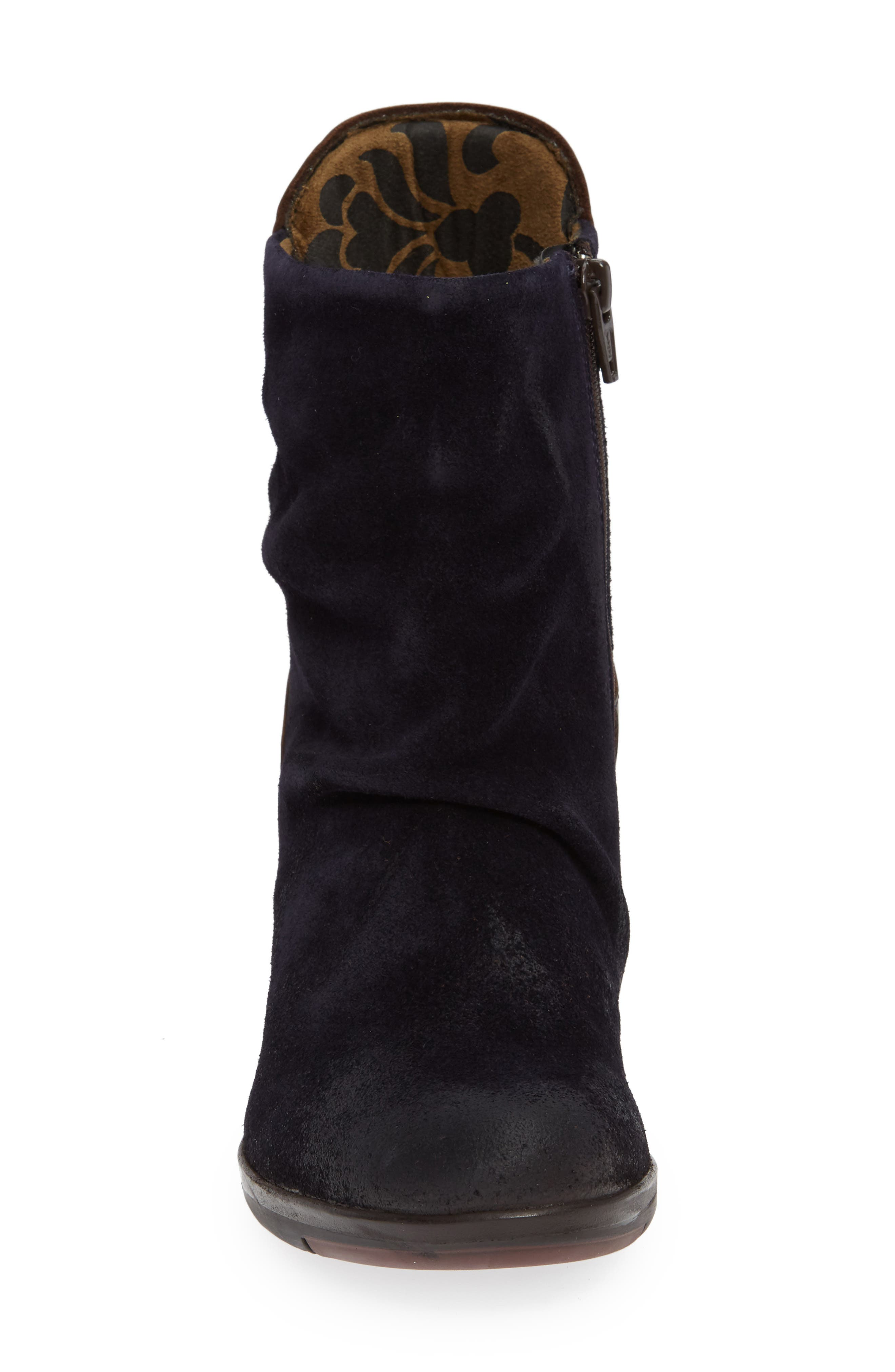 Hota Slouch Bootie,                             Alternate thumbnail 5, color,                             Navy Dark Brown Oil Suede