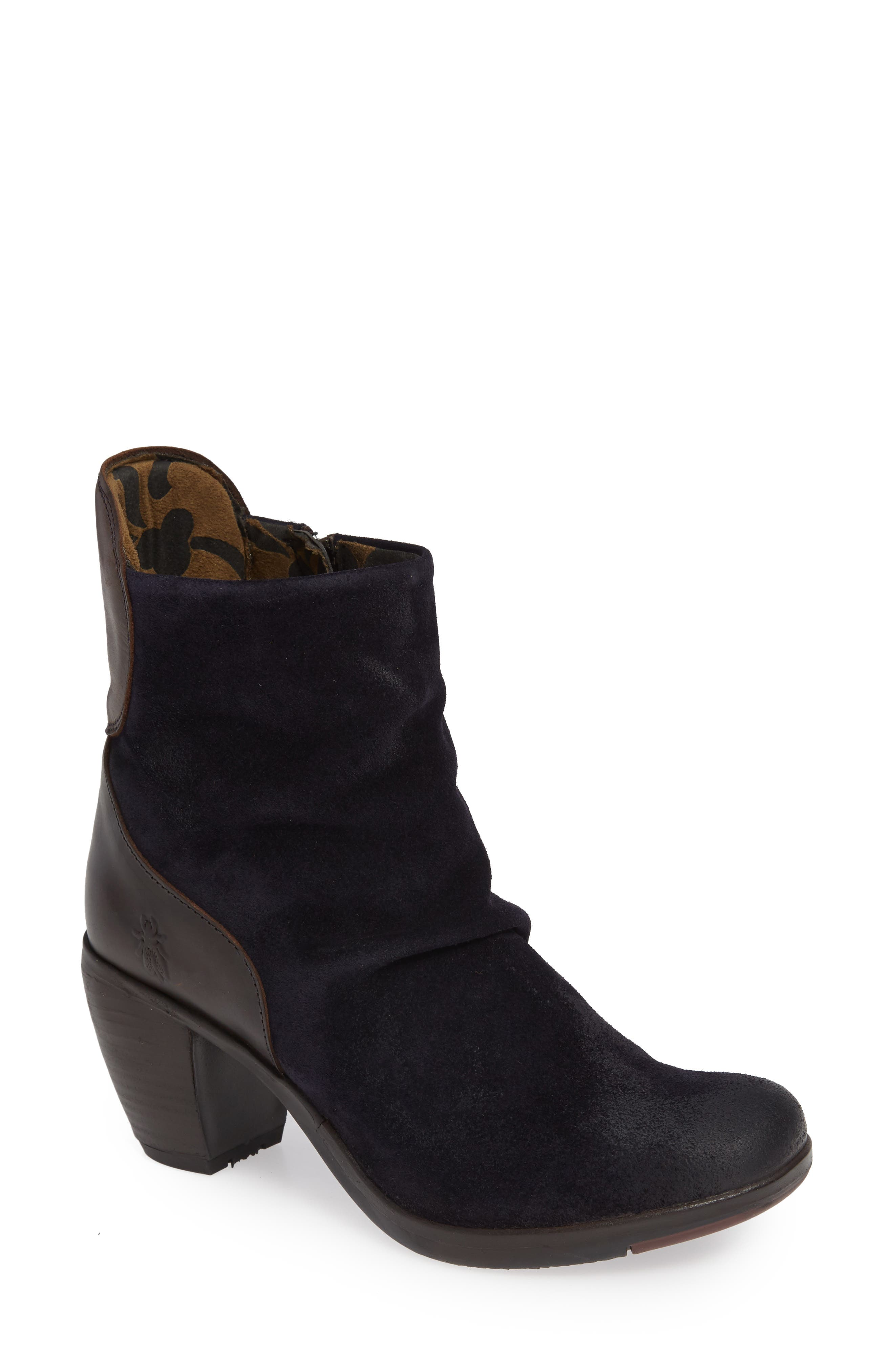 Hota Slouch Bootie,                             Main thumbnail 1, color,                             Navy Dark Brown Oil Suede