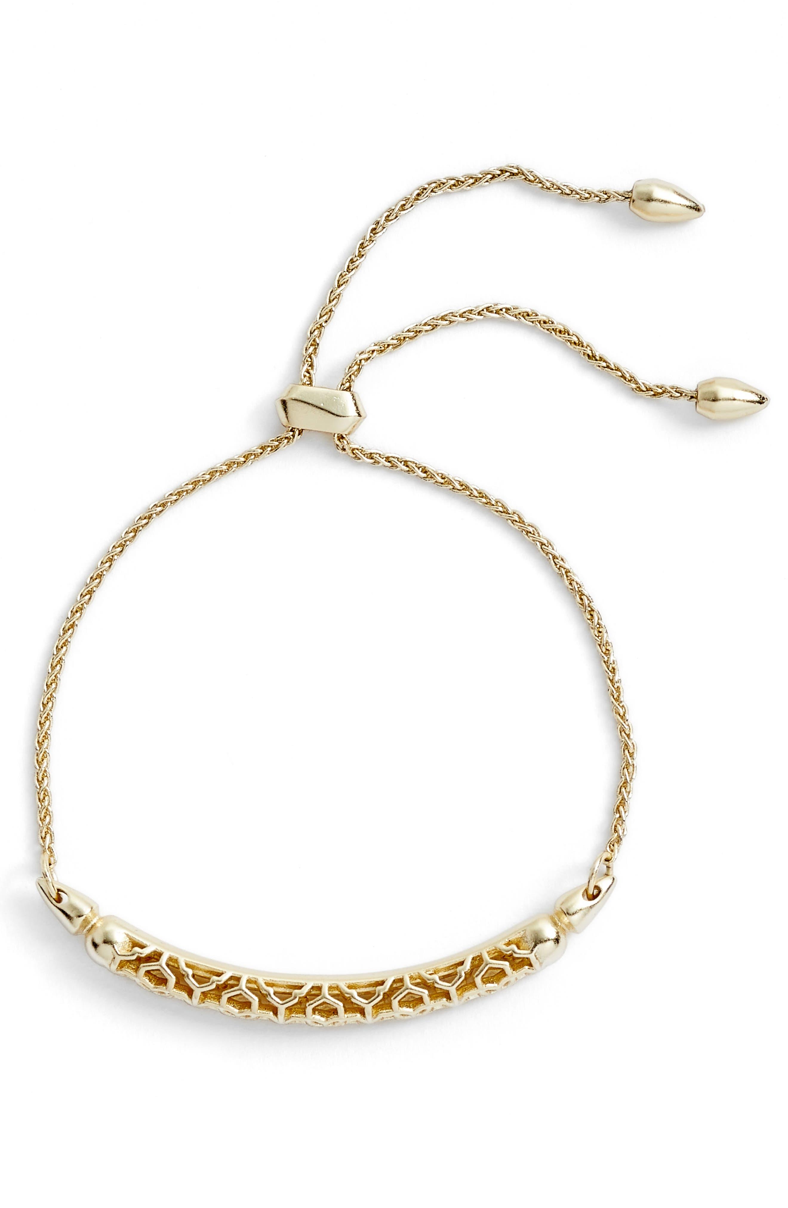 Gilly Adjustable Bracelet,                         Main,                         color, Gold Filigree