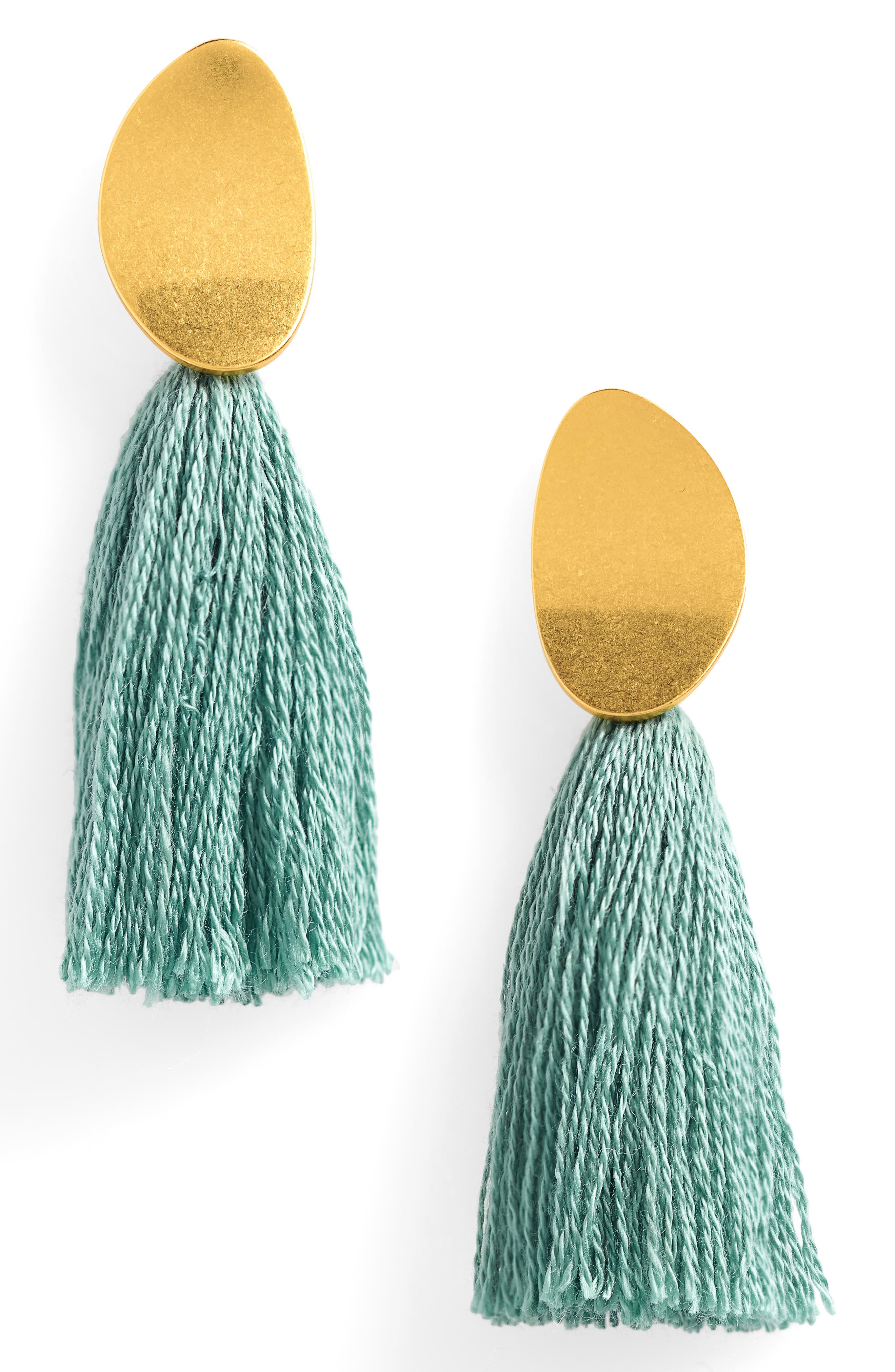 Curved Tassel Earrings,                         Main,                         color, Pale Evergreen