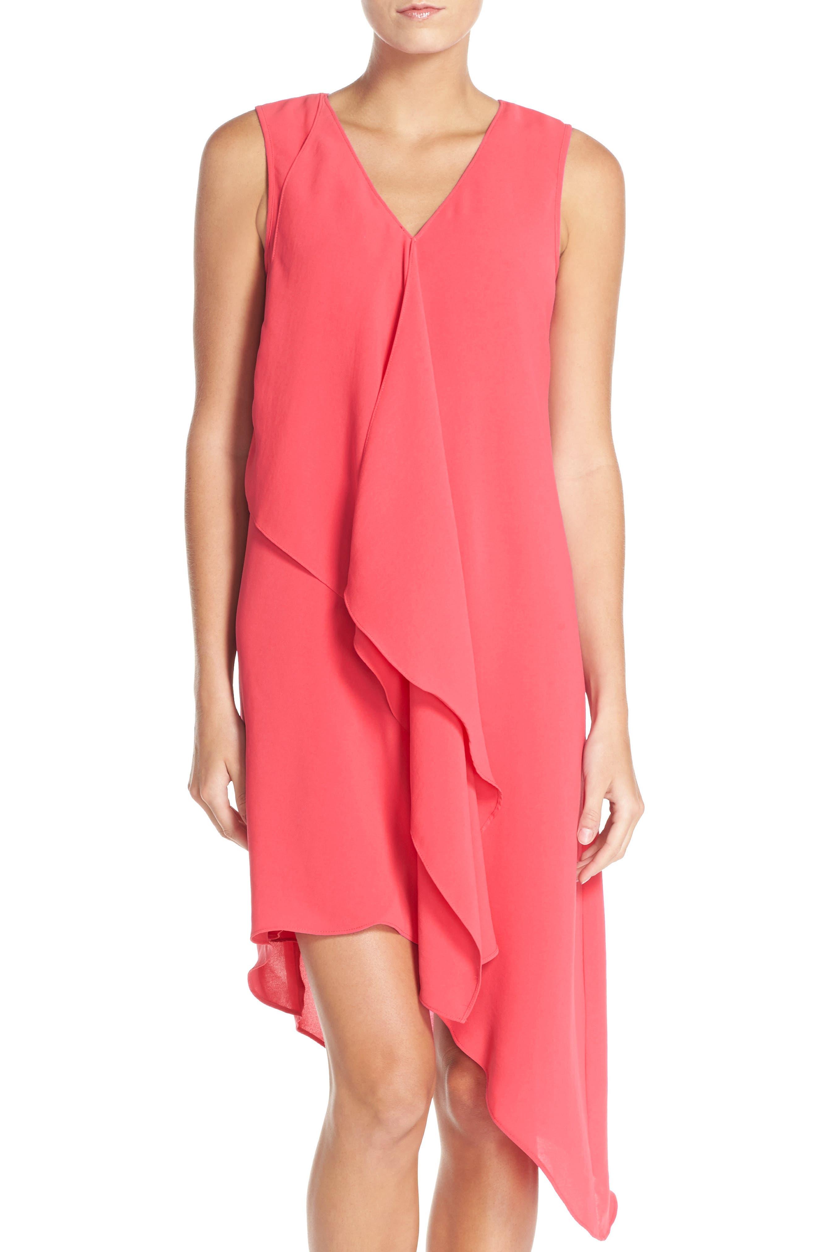 Ruffle Front Crepe High/Low Dress,                             Alternate thumbnail 3, color,                             Grapefruit