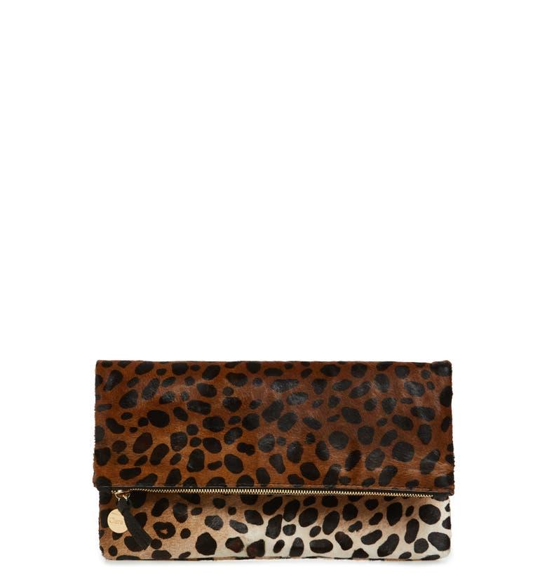 Clare V. Genuine Calf Hair Leopard Print Foldover Clutch | Nordstrom