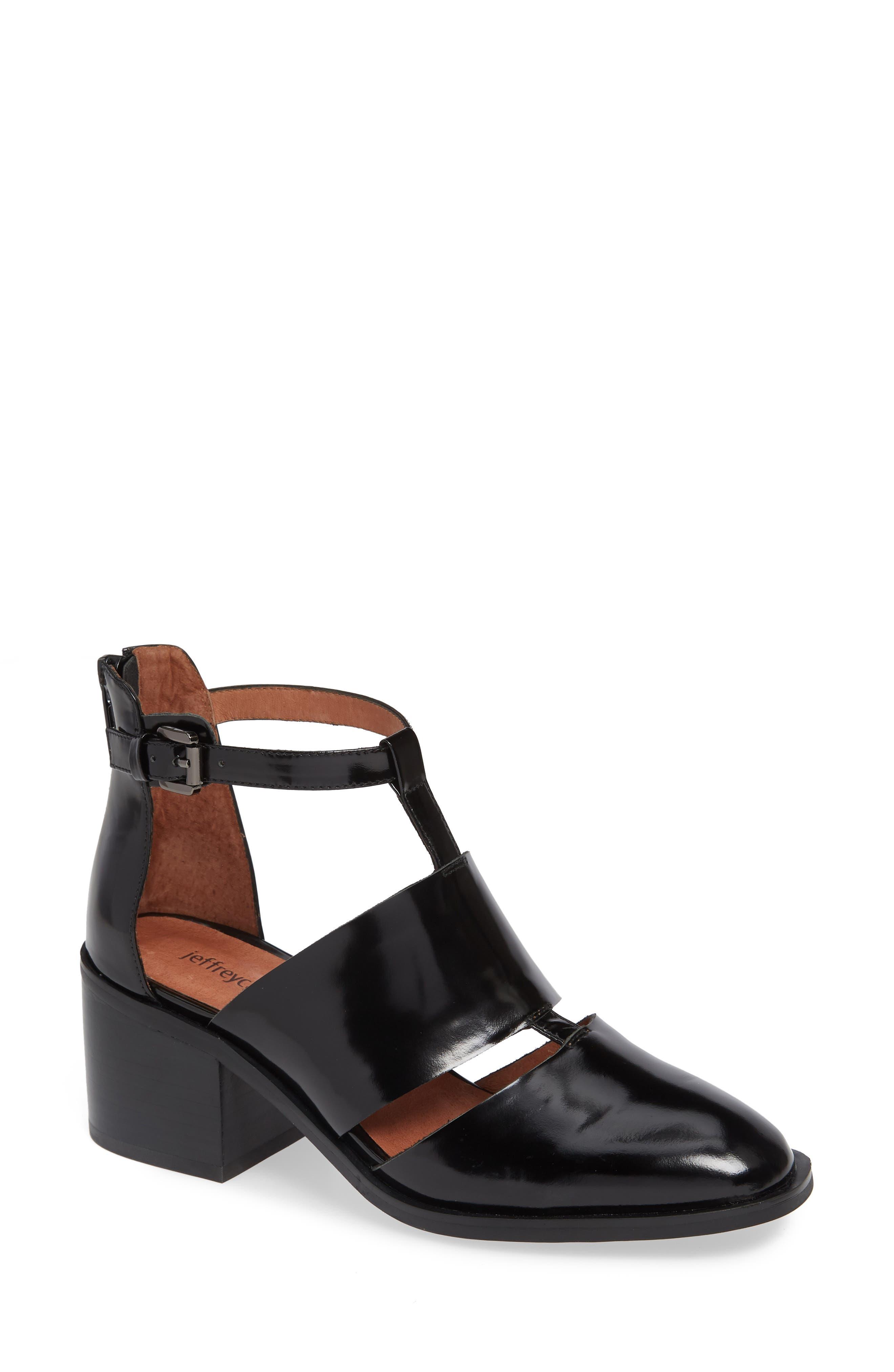 'Melina' T-Strap Shoe,                             Main thumbnail 1, color,                             Black Leather