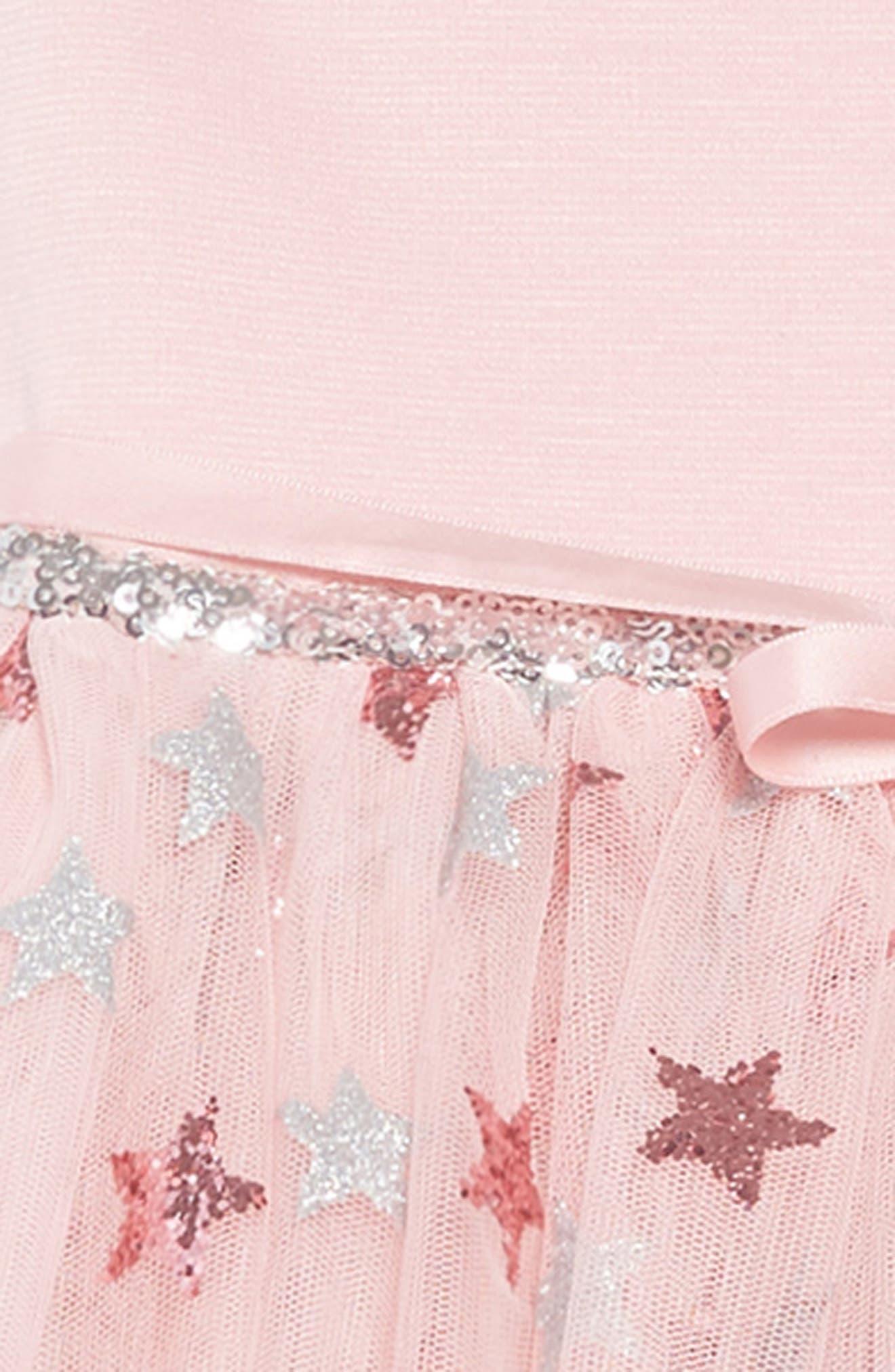 Glitter Star Ponte & Tulle Dress,                             Alternate thumbnail 3, color,                             Mauve/ Silver