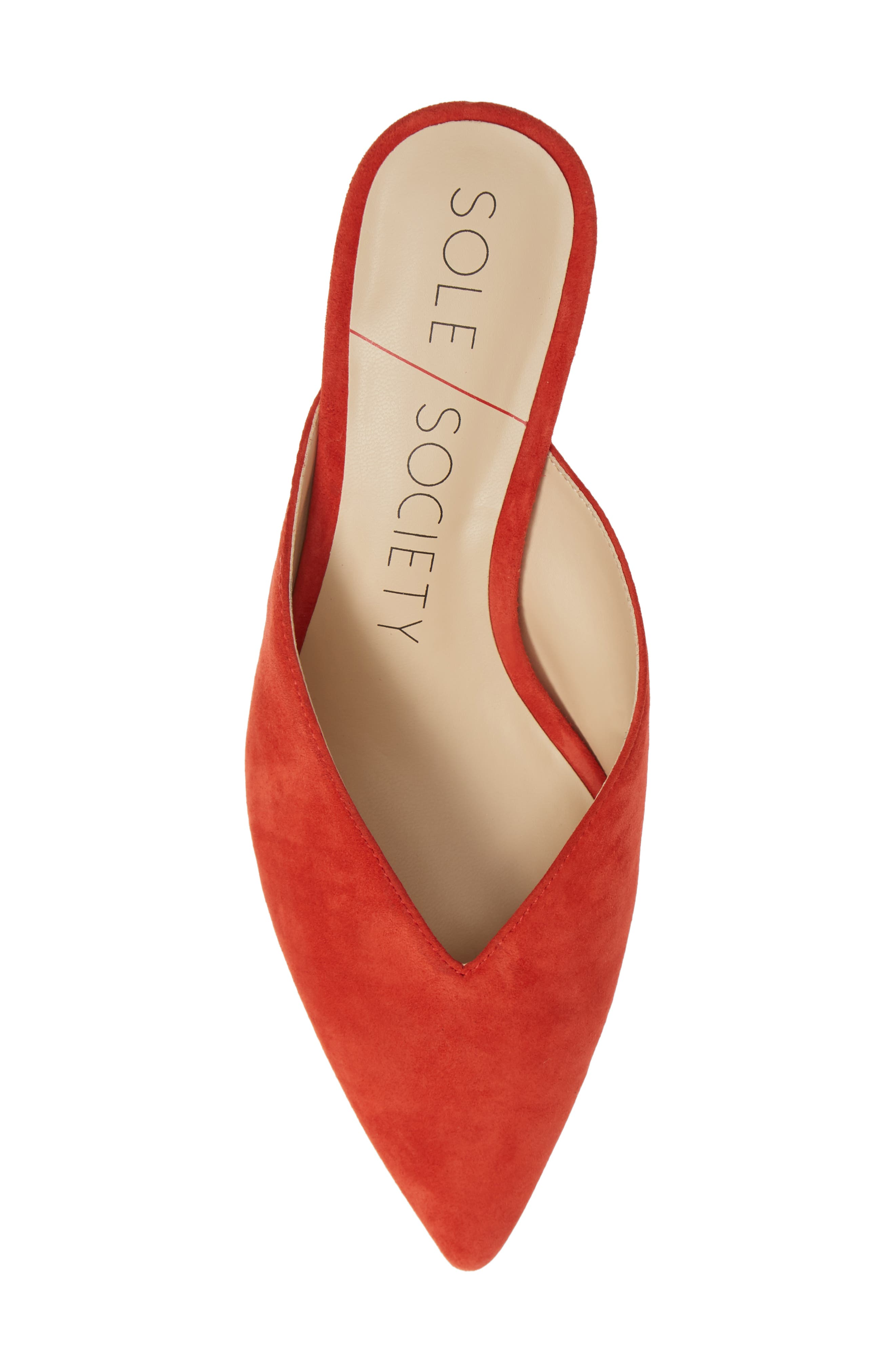 Maleah Pointy Toe Mule,                             Alternate thumbnail 4, color,                             Deep Coral