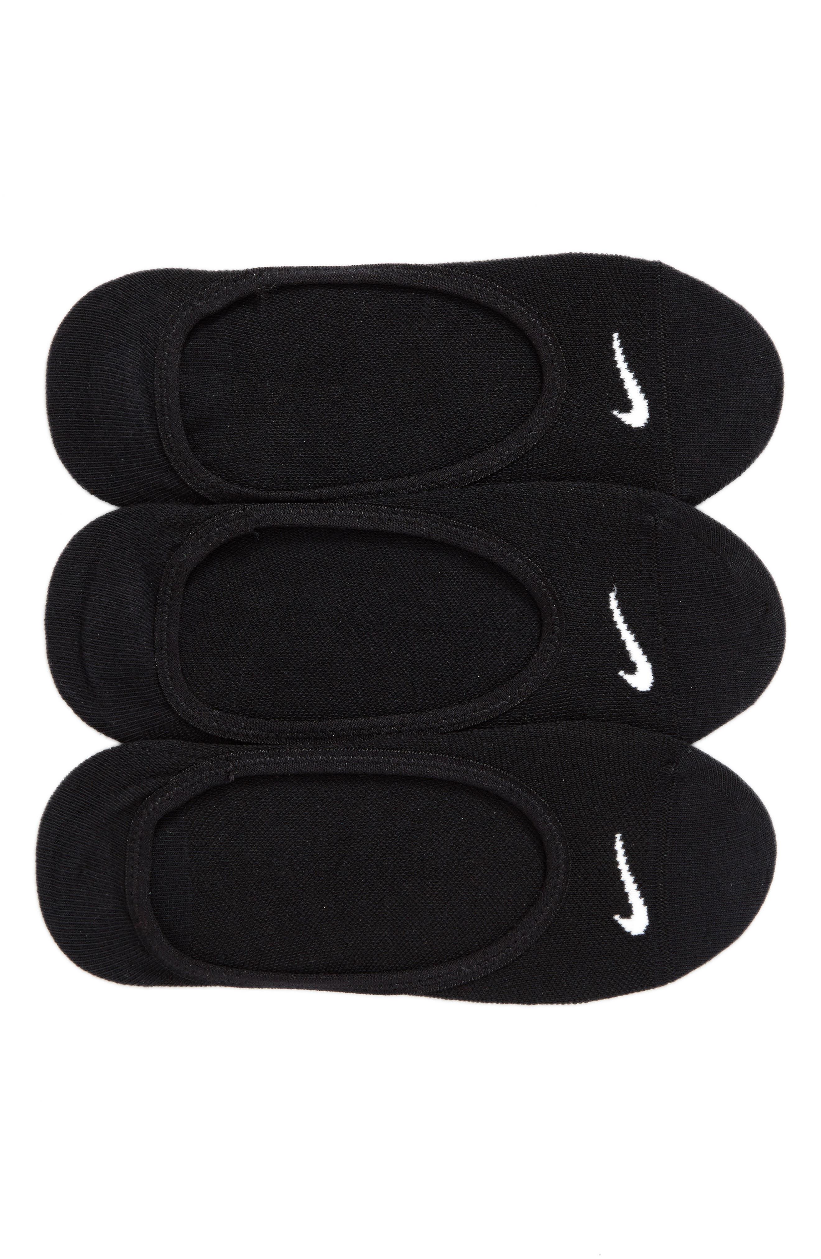 3-Pack No-Show Socks,                             Main thumbnail 1, color,                             Black/(White)