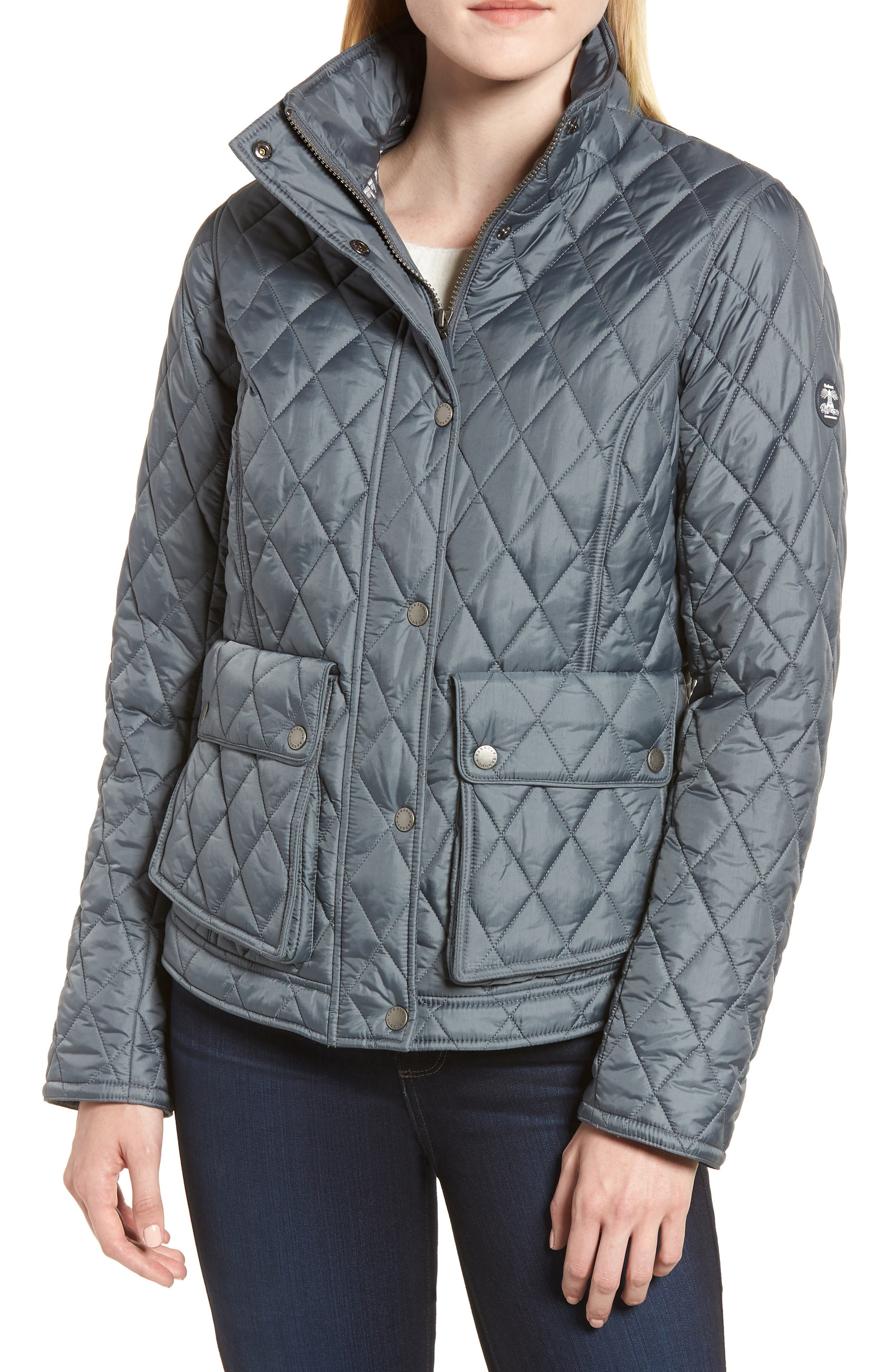 Fairway Quilted Jacket,                             Alternate thumbnail 4, color,                             Washed Charcoal