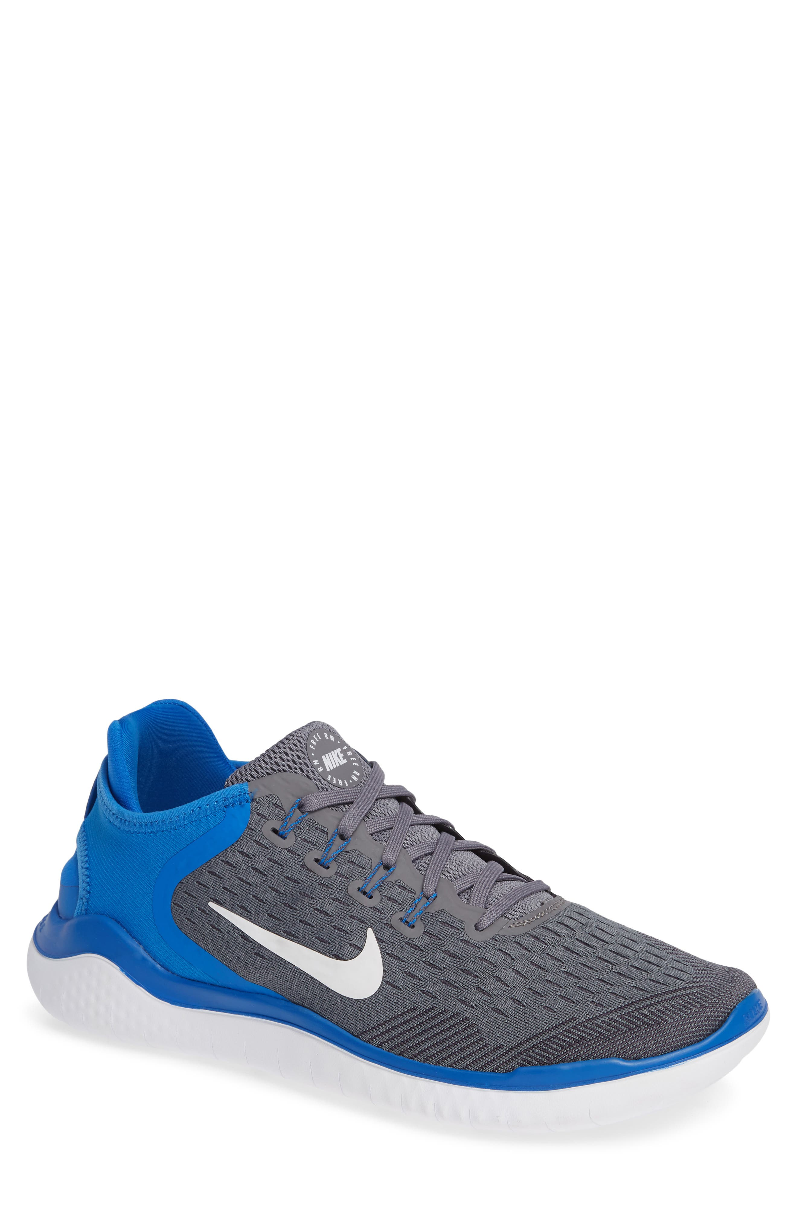 Free RN 2018 Running Shoe,                         Main,                         color, Gunsmoke/ White/ Blue