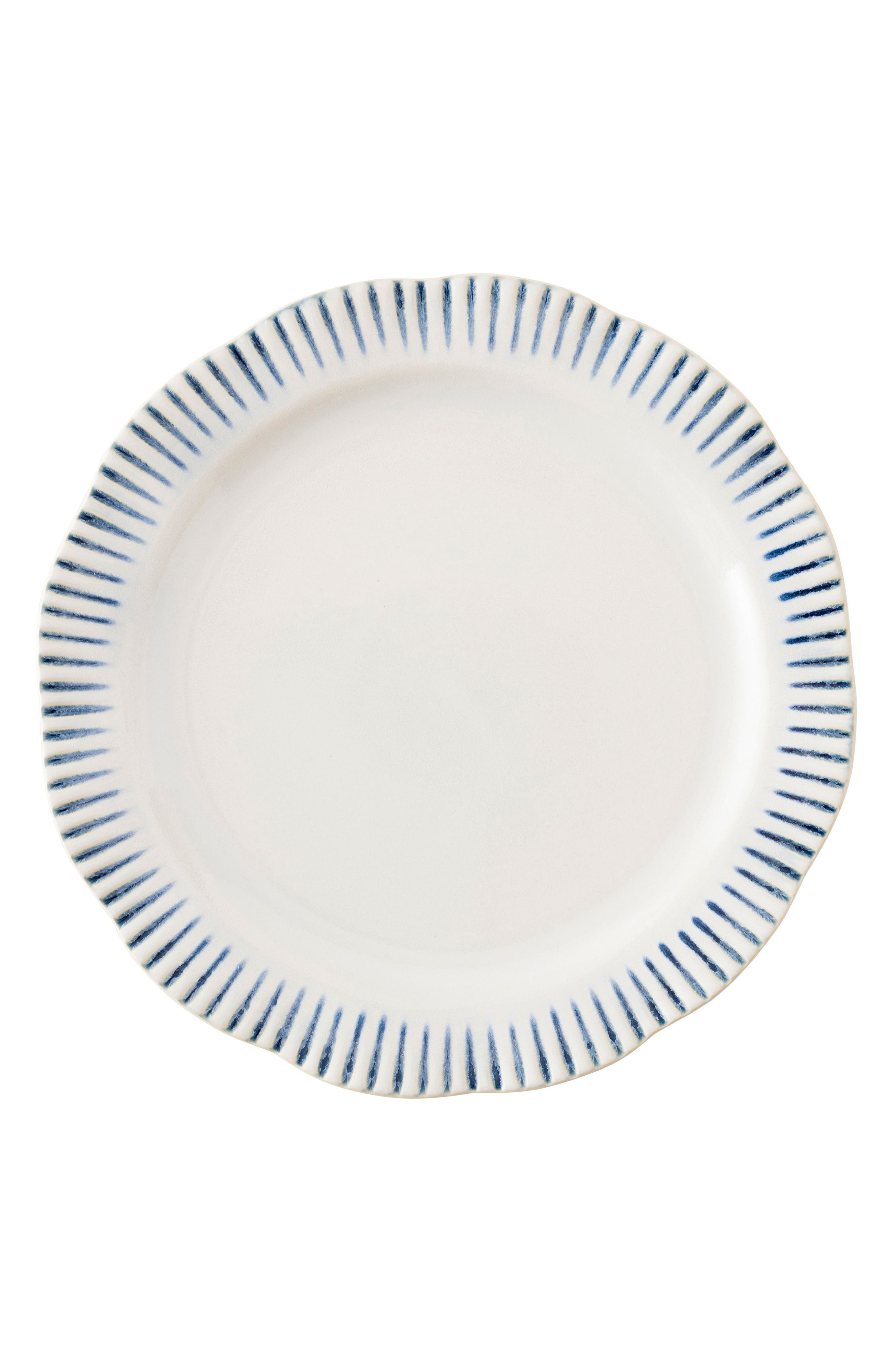 Wanderlust Collection - Sitio Stripe Stoneware Dinner Plate,                             Main thumbnail 1, color,                             Indigo